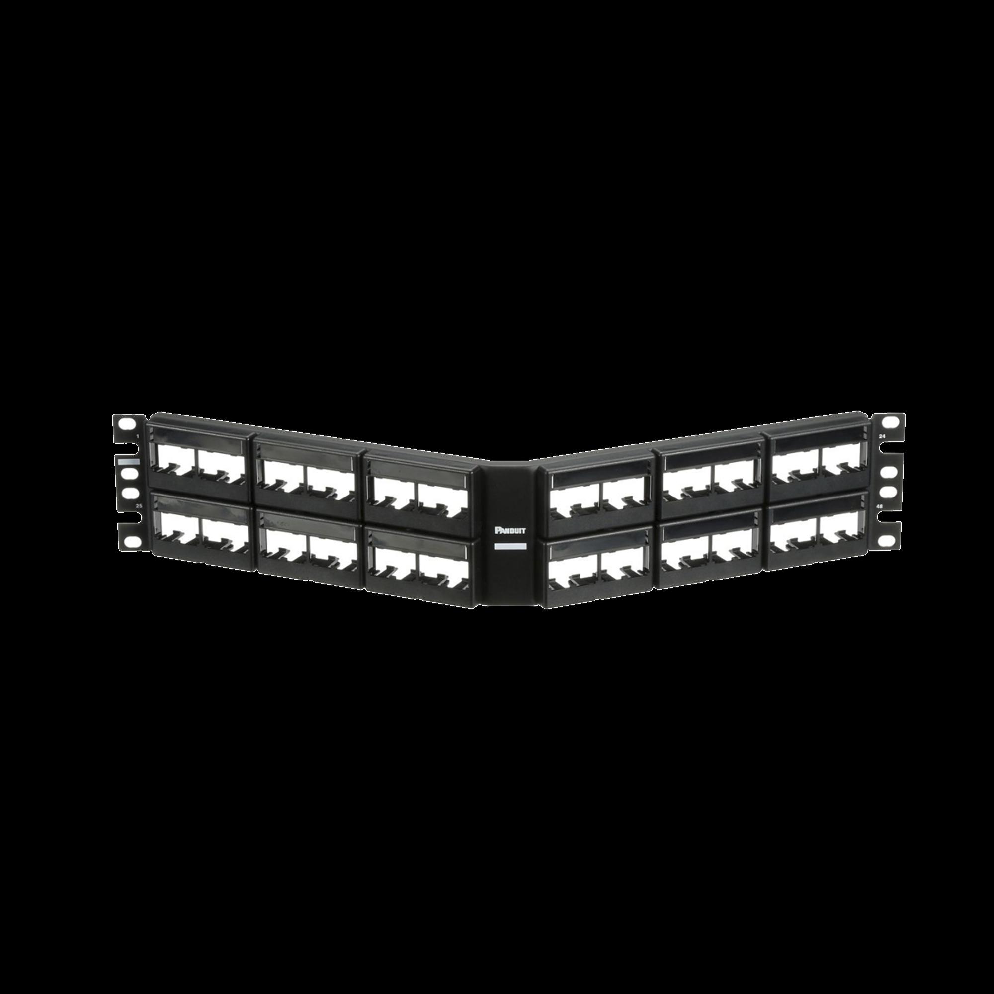 Panel de Parcheo Modular Mini-Com (Sin Conectores), Angulado, Sin Blindaje, Con Etiqueta y Cubierta, de 48 puertos, 2UR