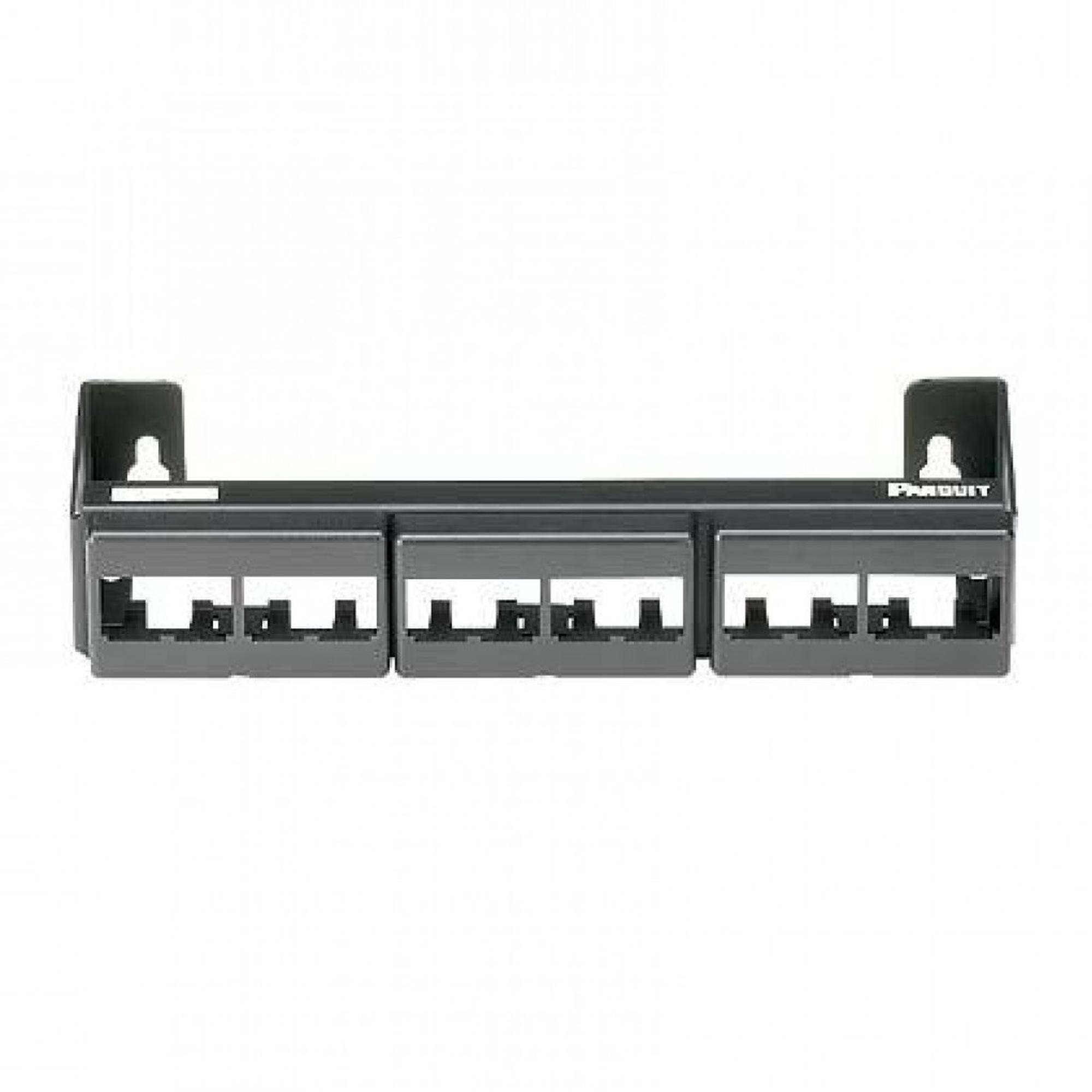 Panel de Parcheo Modular (Sin Conectores), de 12 Puertos Mini-Com, Instalación en Pared con Montaje Incluido, Color Negro