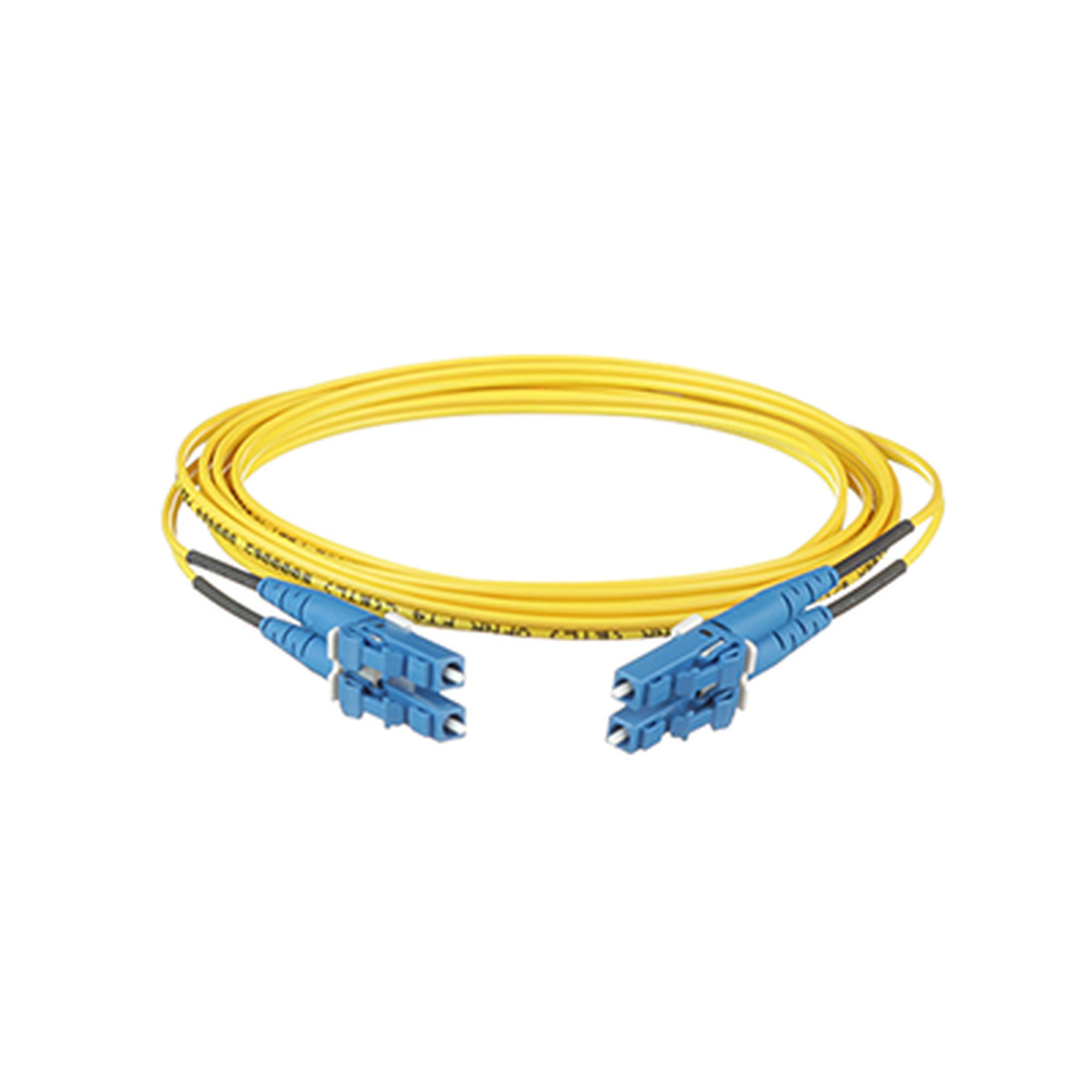 Jumper de Fibra Optica Monomodo 9/125 OS2, LC-LC Duplex, OFNR (Riser), Color Amarillo, 1 Metro