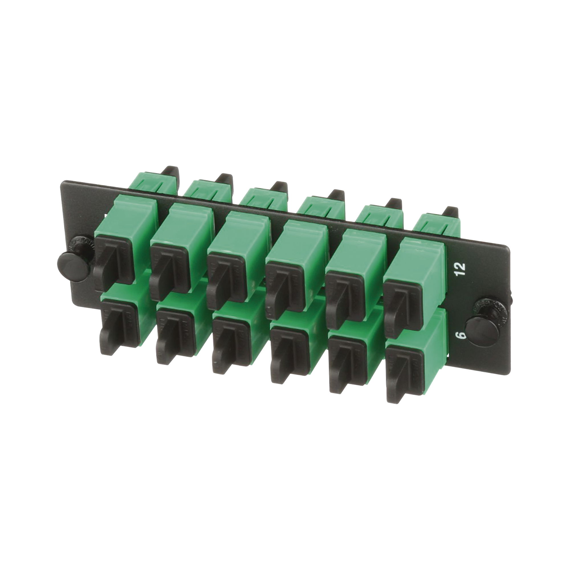 Placa Acopladora de Fibra Optica FAP, Con 12 Conectores SC/APC (12 Fibras), Para Fibra Monomodo OS1/OS2, Color Verde