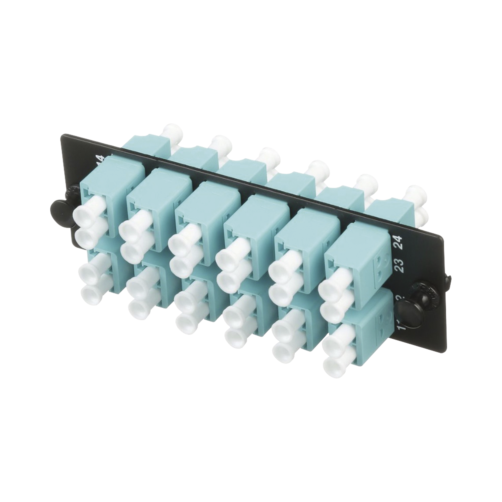 Placa Acopladora de Fibra Optica FAP, Con 12 Conectores LC Duplex (24 Fibras), Para Fibra Multimodo OM3/OM4, Color Aqua