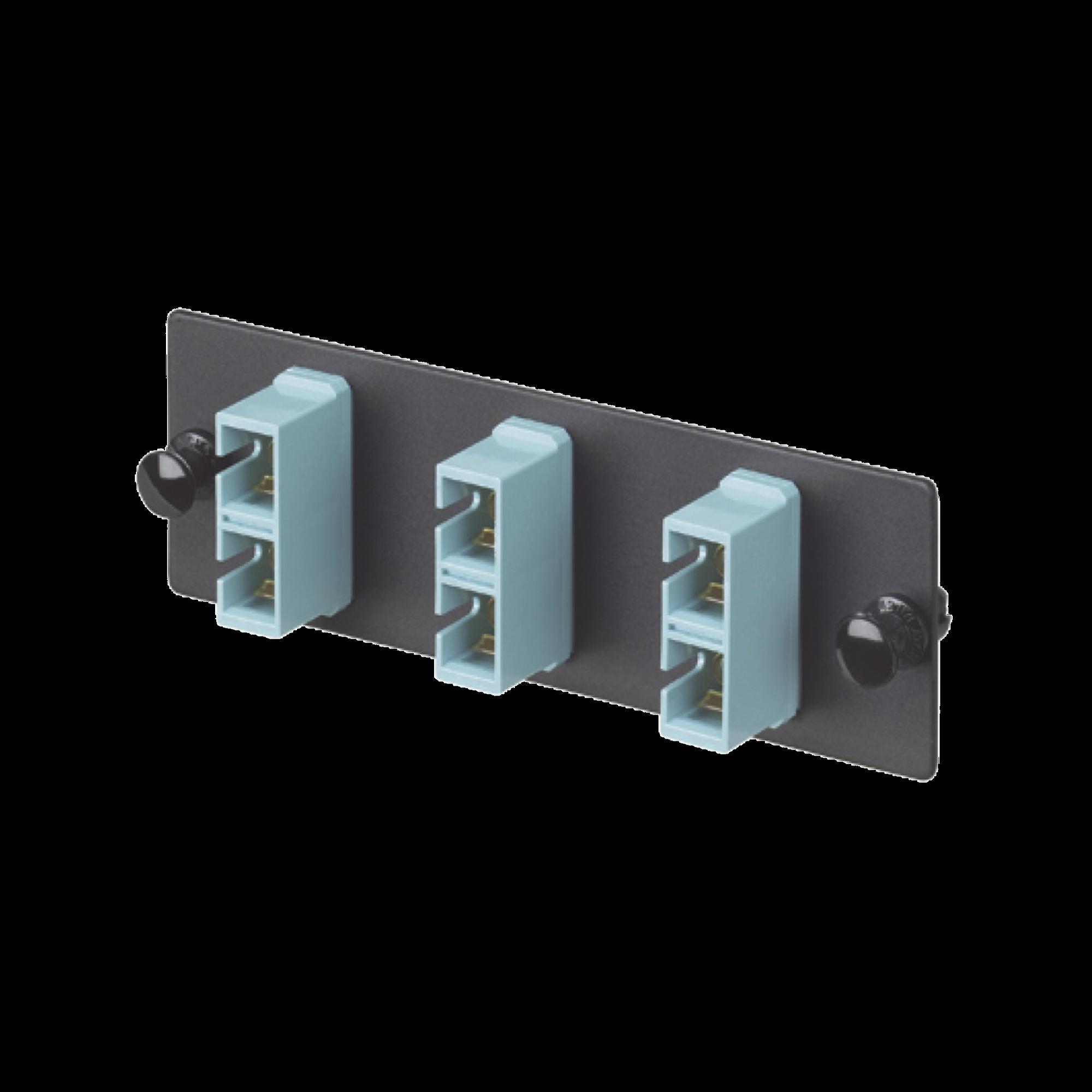 Placa Acopladora de Fibra Optica FAP, Con 3 Conectores SC Duplex (6 Fibras), Para Fibra Multimodo OM3/OM4, Color Aqua