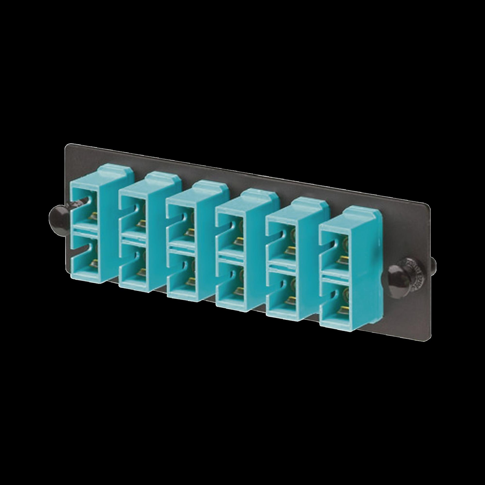 Placa Acopladora de Fibra Optica FAP, Con 6 Conectores SC Duplex (12 Fibras), Para Fibra Multimodo OM3/OM4, Color Aqua