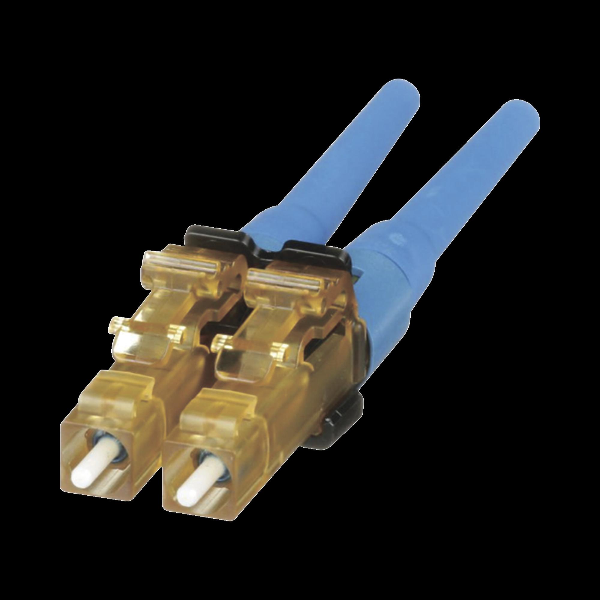 Conector de Fibra óptica LC Duplex OptiCam, Monomodo 9/125 OS2, Pre-pulido, Color Azul