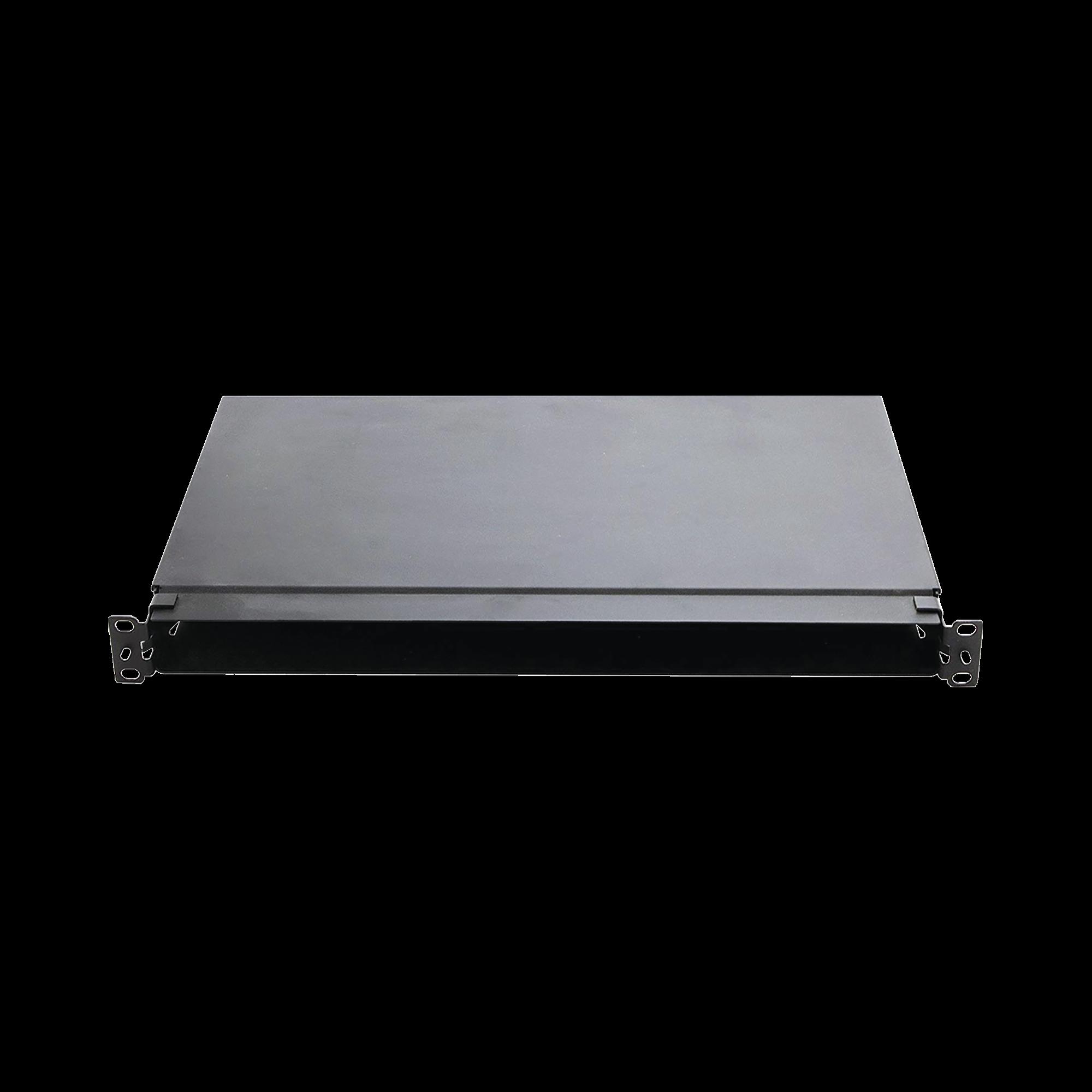 Panel de Distribución de Fibra óptica, Acepta 4 Casetes QuickNet o Placas FAP/FMP con Panel CFAPPBL1 (No Incluido), Bandeja Fija, Hasta 96 Fibras, Color Negro, 1UR