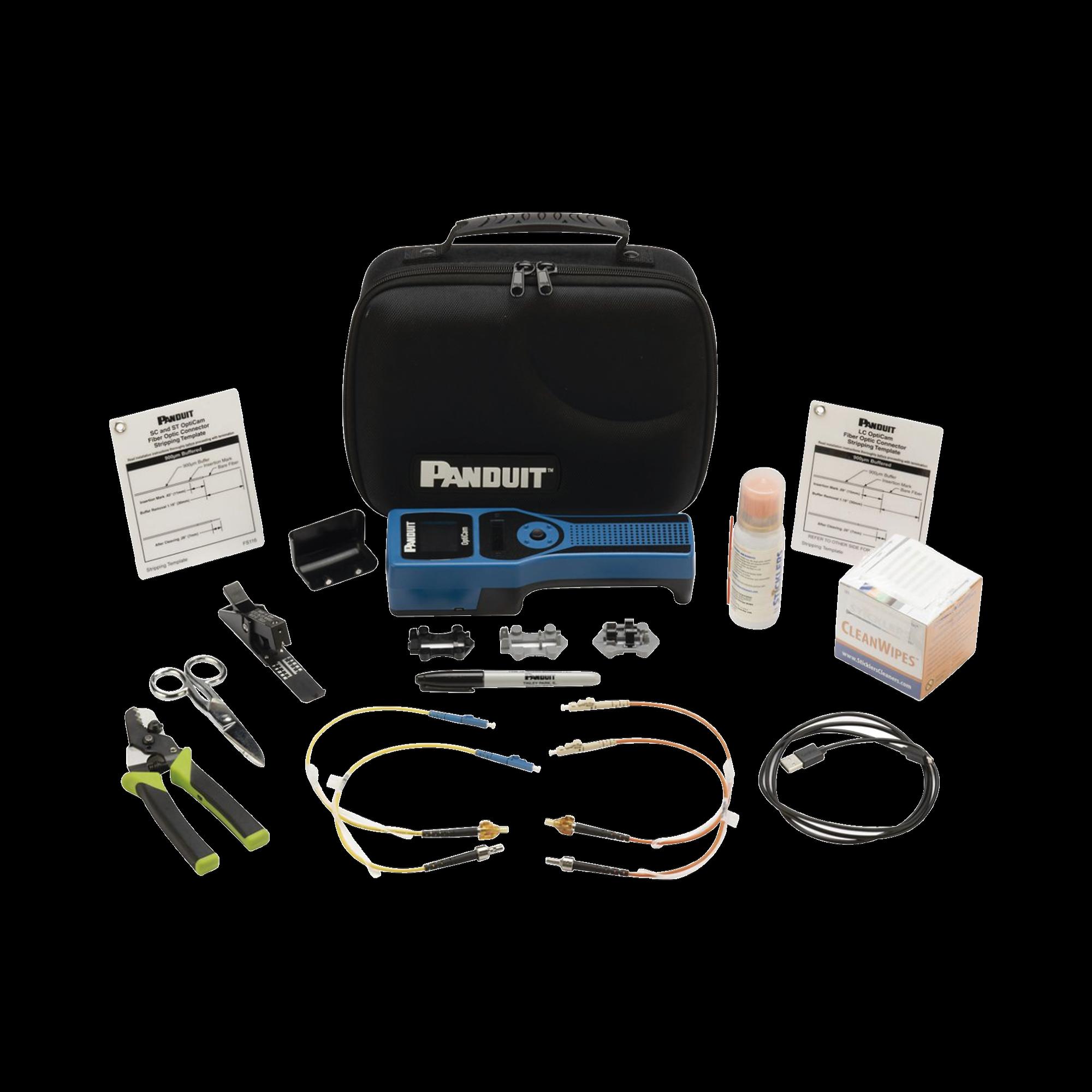 Kit de Herramientas OptiCam 2, Para Terminación de Conectores de Fibra Optica Pre-Pulidos de Panduit, Incluye Desforradora y Cleaver