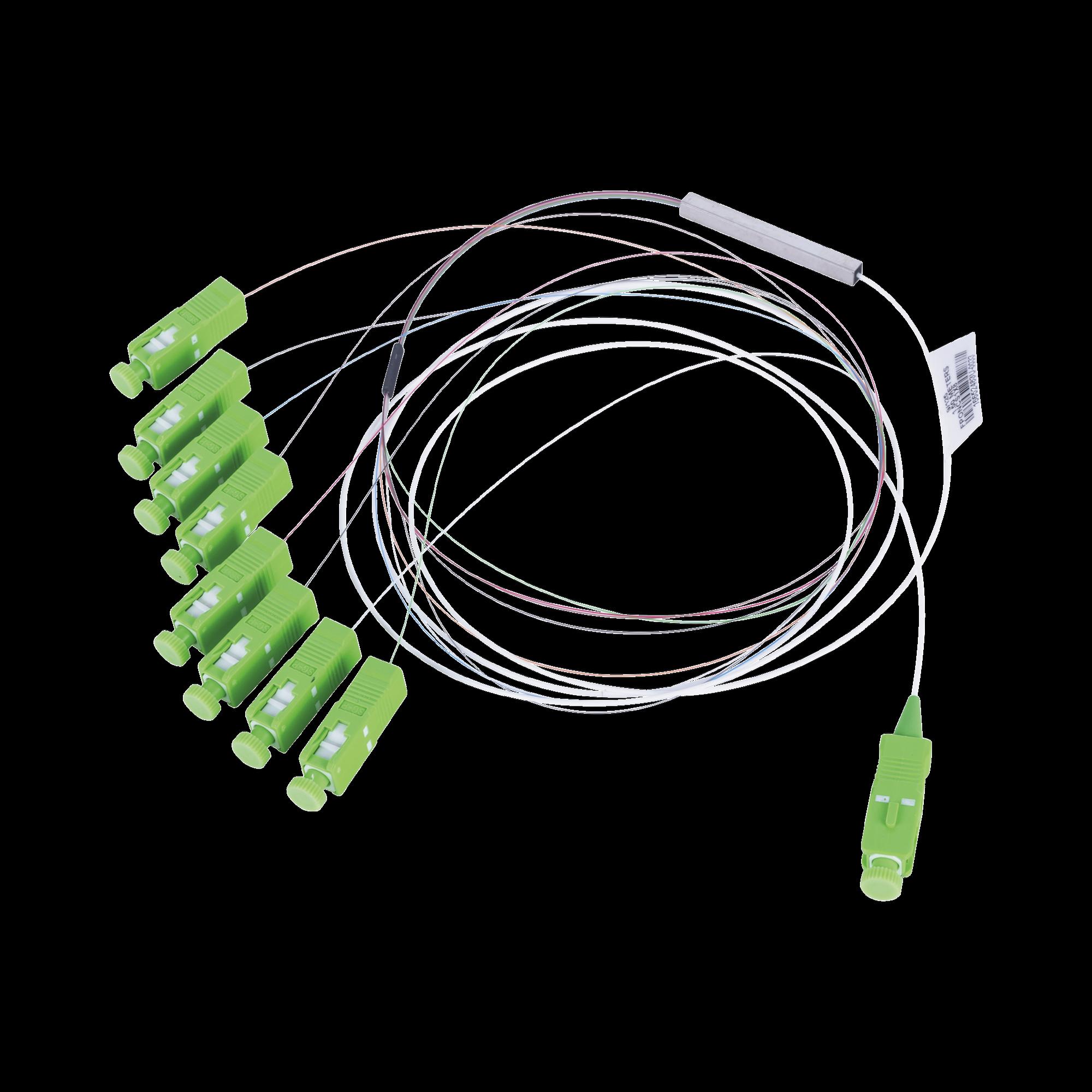Divisor óptico (Splitter) Tipo PLC, de 1x8, Con Conector de Entrada SC/APC y Conectores de Salida SC/APC