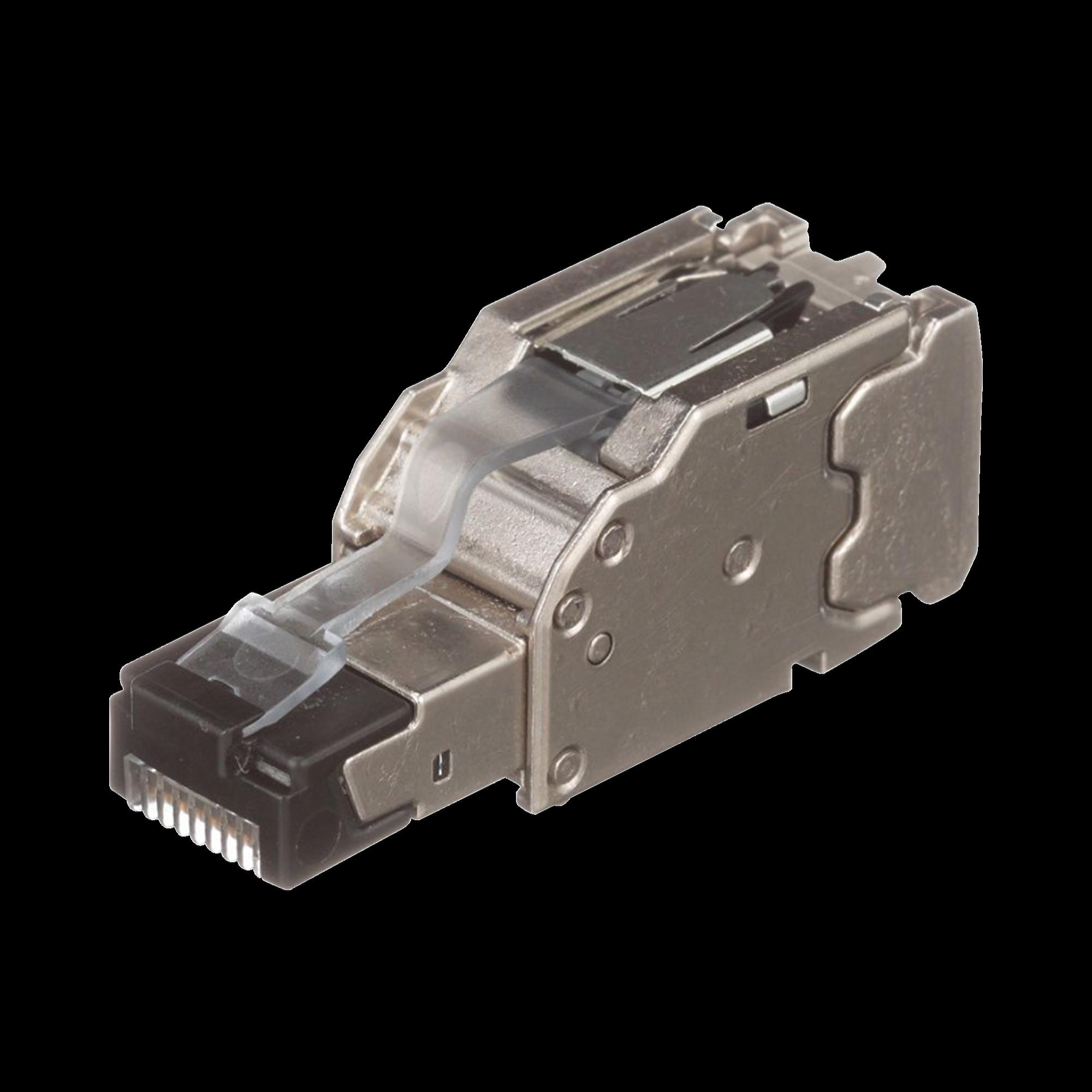 Plug RJ45 Blindado, Instalación Recta, Terminación en Campo Certificable, Compatible con Cat5e, Cat6 y Cat6A, Color Plata