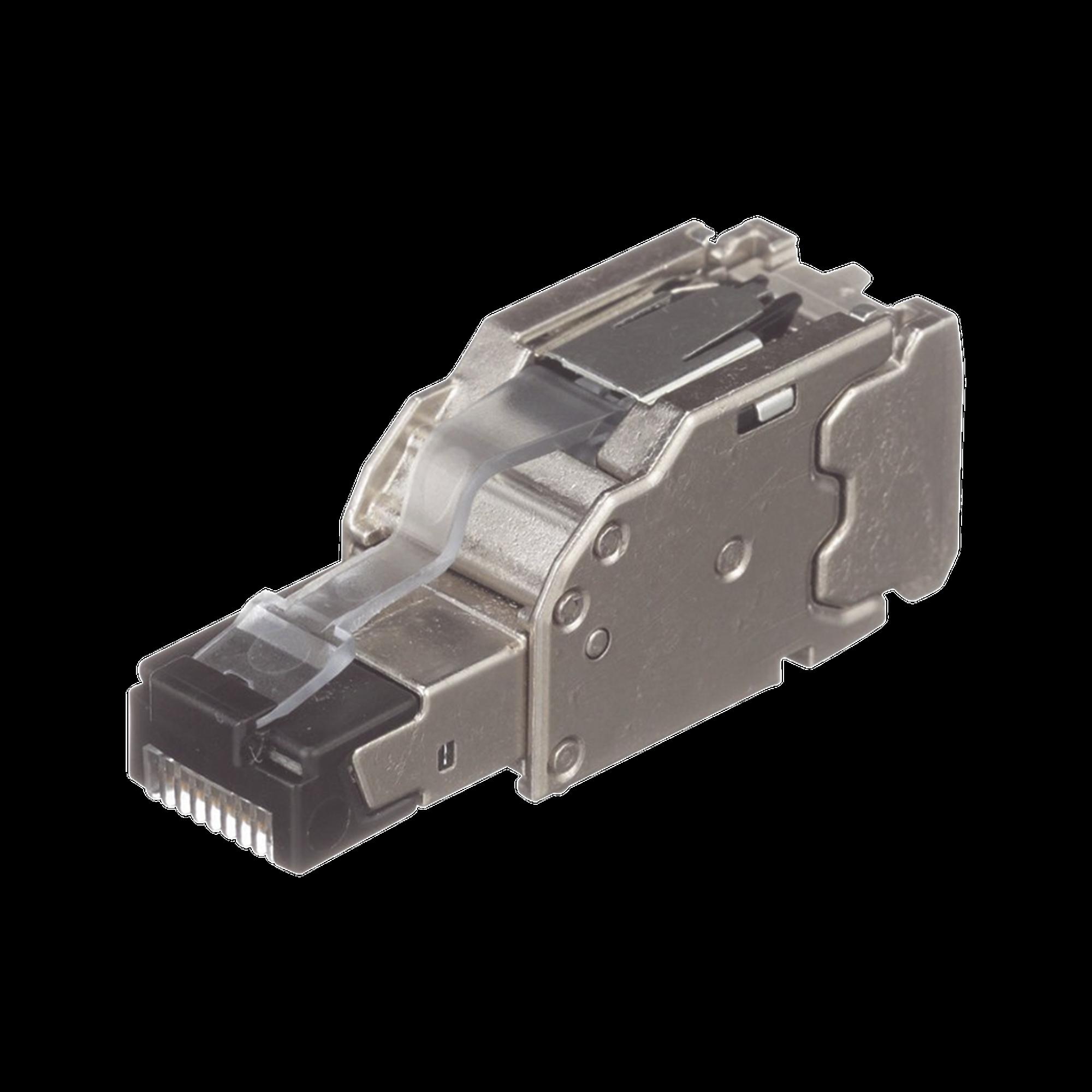 Plug RJ45 Blindado, Instalación Recta, Terminación en Campo Certificable, Compatible con Cat5e, Cat6 y Cat6A, Color Plata, Paquete de 10 Piezas