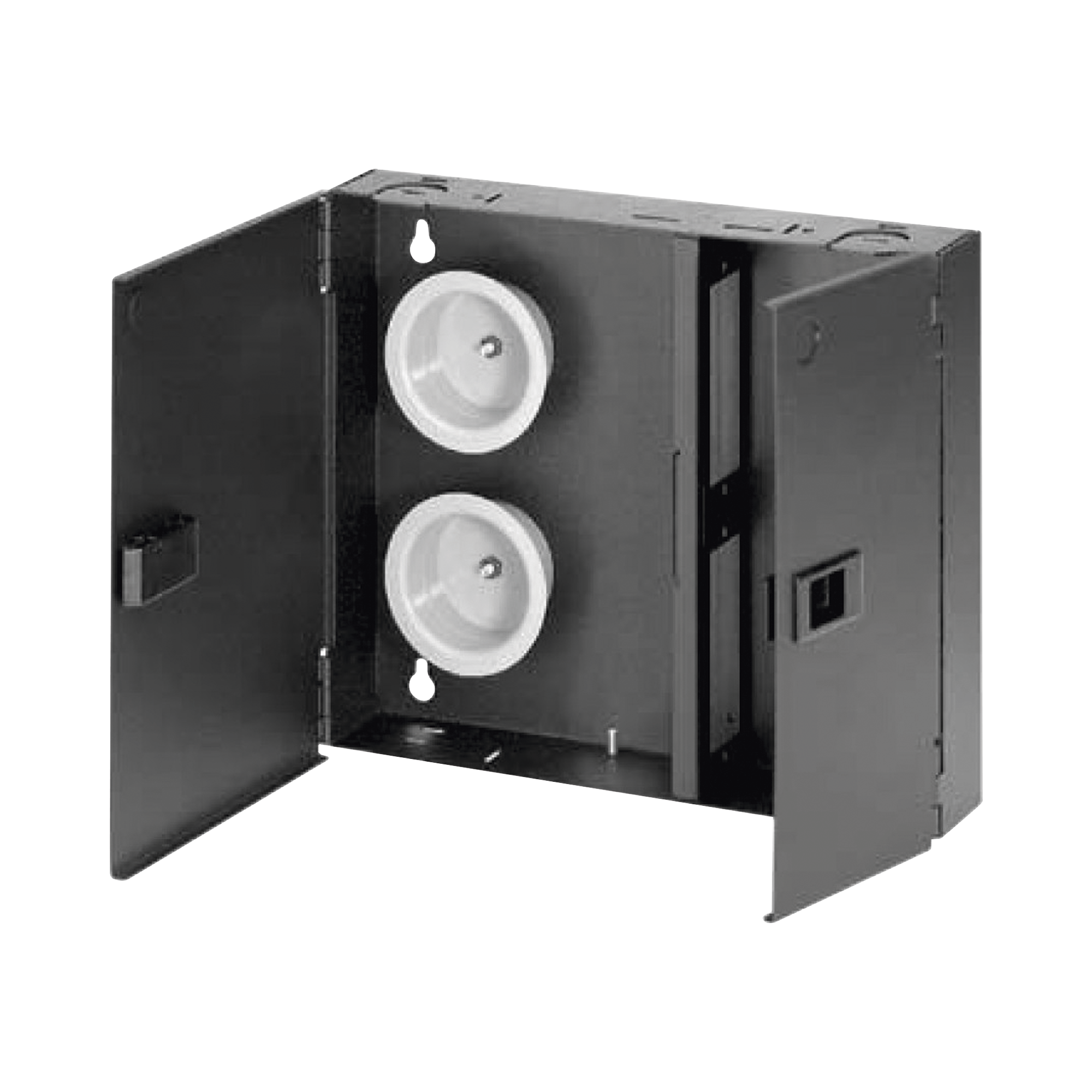 Caja de Conexión de Fibra óptica, Para Montaje en Pared, Acepta 2 Placas FAP o FMP, Hasta 48 Fibras, Color Negro