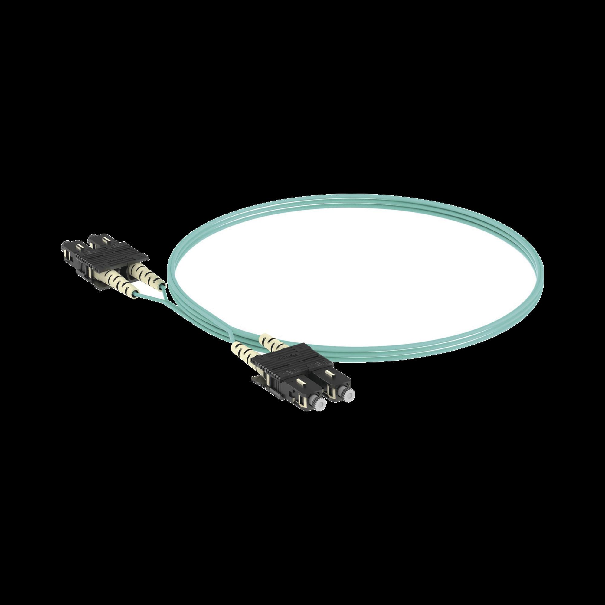 Jumper de Fibra Optica Multimodo 50/125 OM3, SC-SC Duplex, OFNR (Riser), Color Aqua, 2 Metros