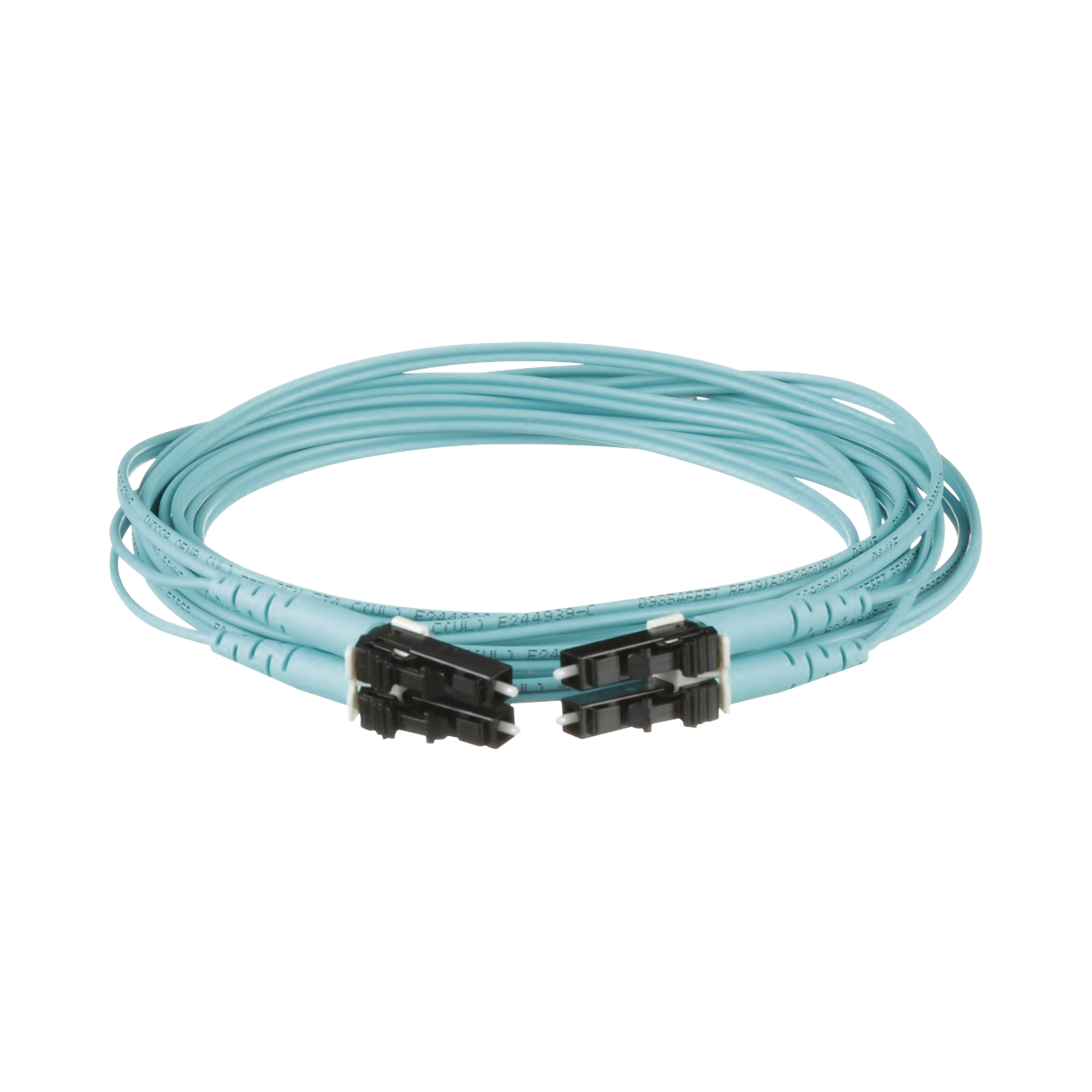 Jumper de Fibra Optica Multimodo 50/125 OM4, LC-LC Duplex, OFNR (Riser), Color Aqua, 1 Metro