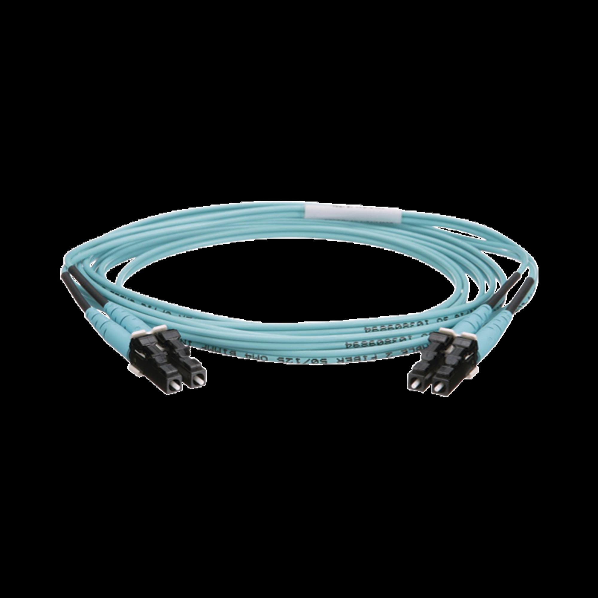 Jumper de Fibra Optica Multimodo 50/125 OM4, LC-LC Duplex, OFNR (Riser), Color Aqua, 2 Metros