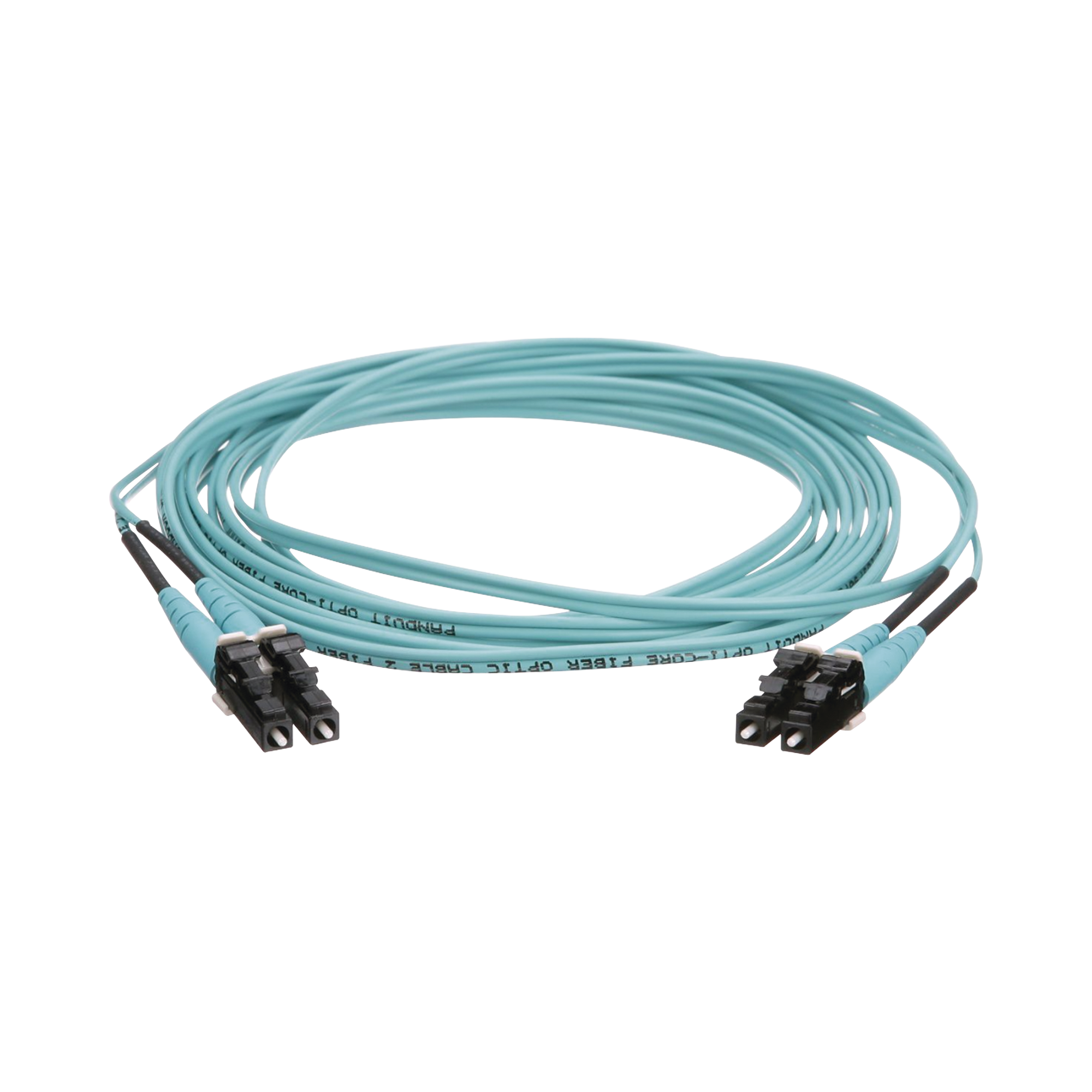 Jumper de Fibra Optica Multimodo 50/125 OM4, LC-LC Duplex, OFNR (Riser), Color Aqua, 3 Metros