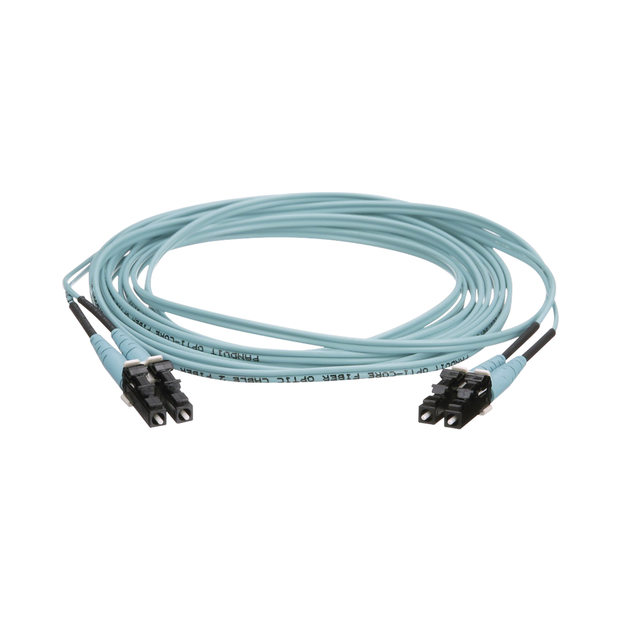 Jumper de Fibra Optica Multimodo 50/125 OM4, LC-LC Duplex, OFNR (Riser), Color Aqua, 9 Metros