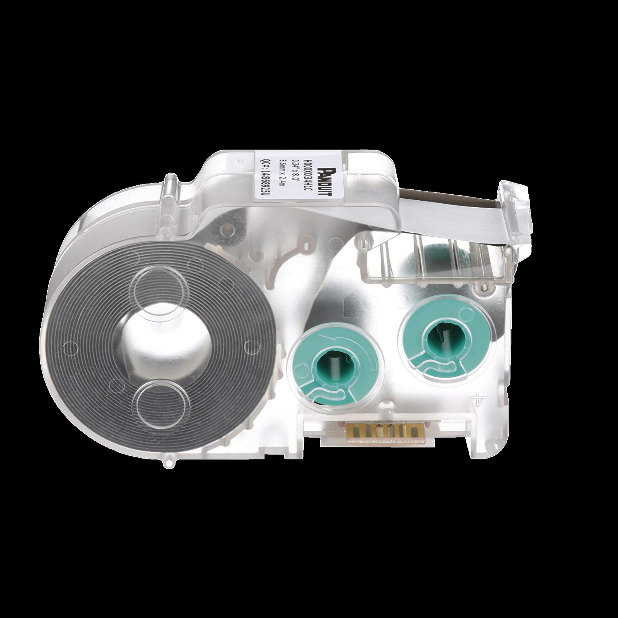Casete de Etiquetas de Cinta Continua, Tubo TermoContractil, 4.6 mm de Diámetro, 8.6 mm de Ancho, 2.4 m de largo, para Cables 18-12 AWG, Color Blanco
