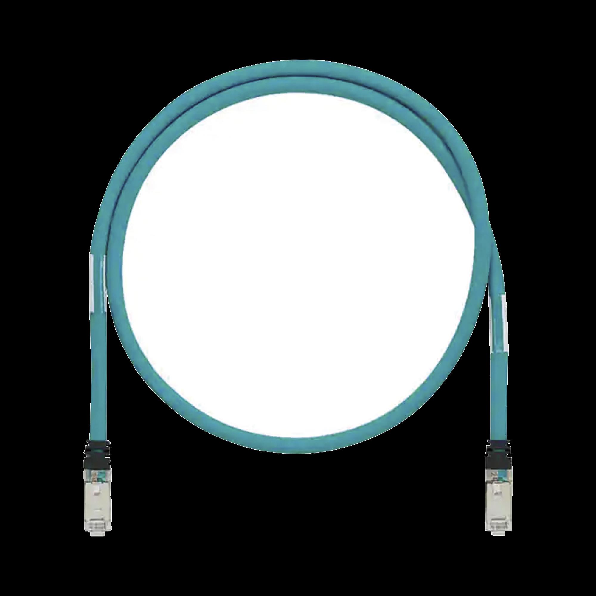 Patch Cord Cat6A de Grado Industrial 600V, Blindado SF/UTP, Calibre 26 AWG, Color Aqua, 5m