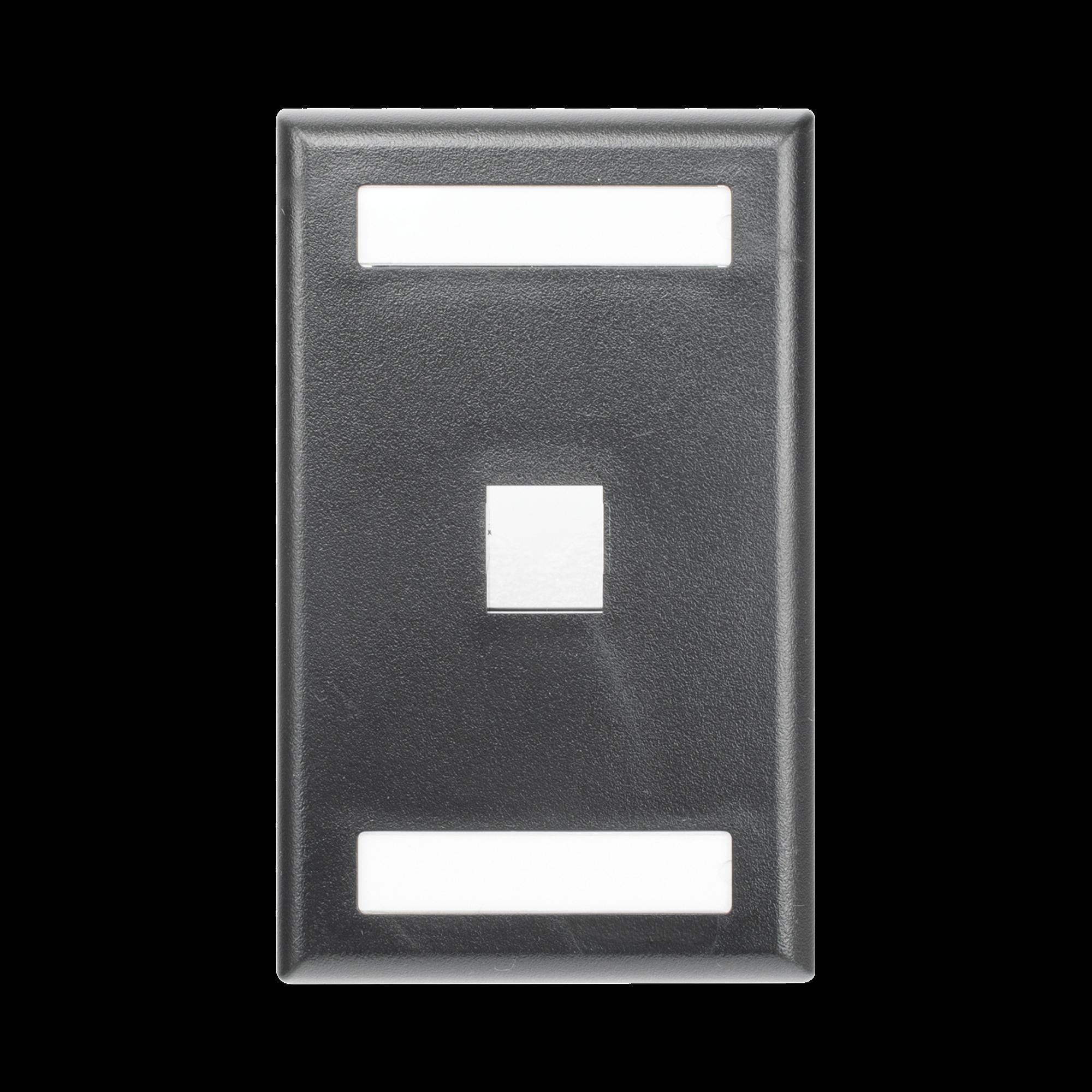 Placa de Pared Vertical, Salida Para 1 Puerto Keystone, Con Espacios Para Etiquetas, Color Negro