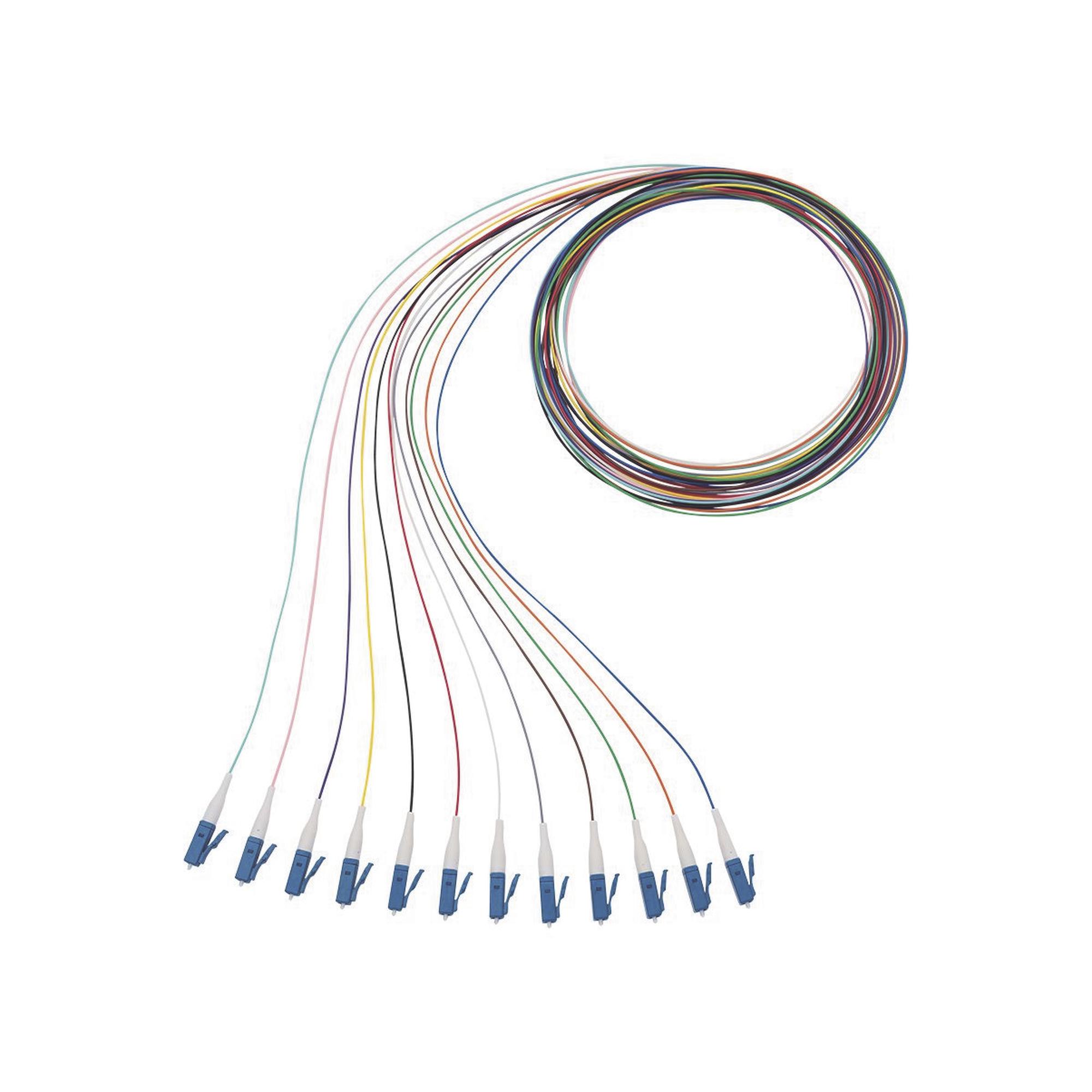 Kit de 12 Pigtails con Conector LC, Monomodo 9/125 OS2, 900um, de 1 Metro