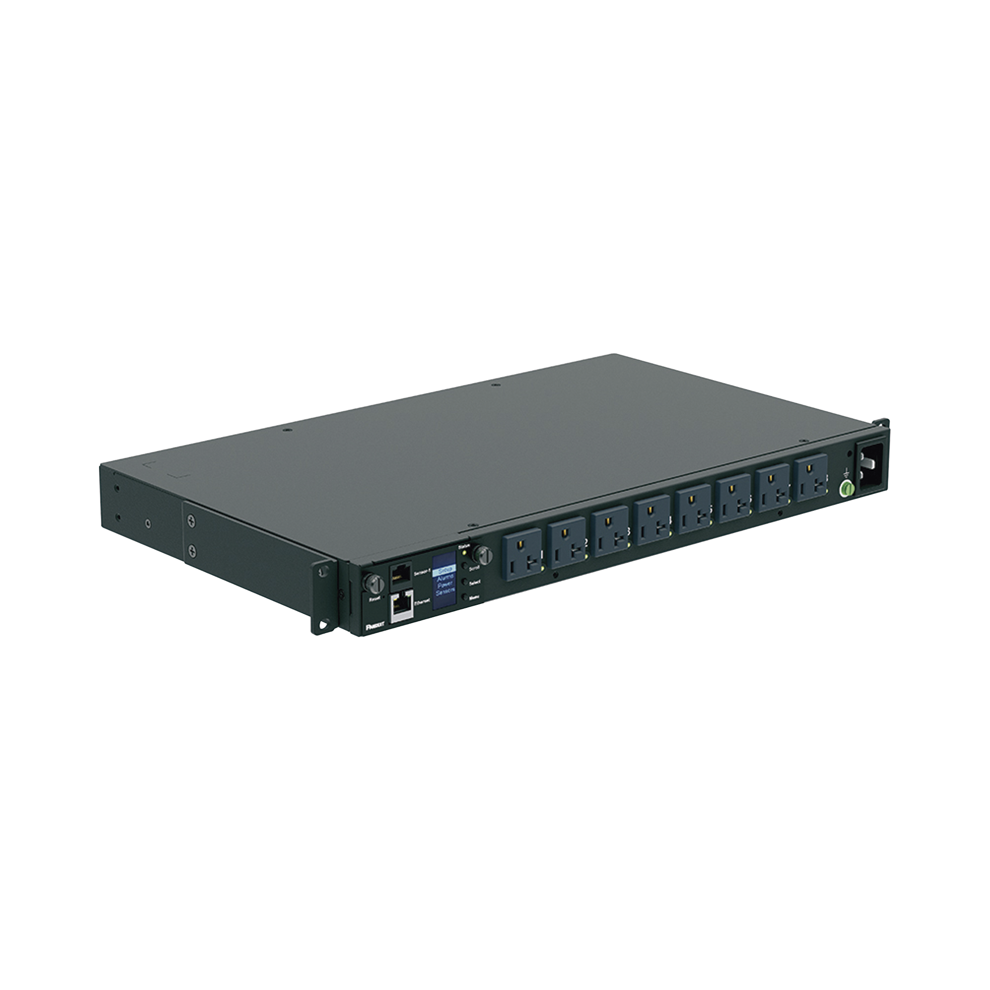 PDU Switchable y Monitoreable por Toma (MS) para Distribución de Energía, Enchufe de Entrada NEMA 5-15P, Con 8 Salidas 5-20R, Horizontal 19in, 120 Vca, 15 Amp, 1UR