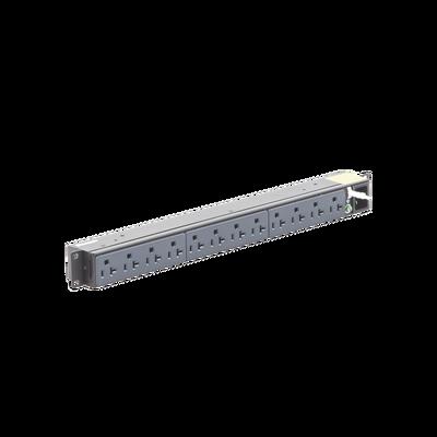 PDU Básico para Distribución de Energía, Enchufe de Entrada NEMA 5-15P, Con 12 Contactos NEMA 5-20R, Instalación Horizontal de 19in, 1UR, 15 Amp, 120 Vca