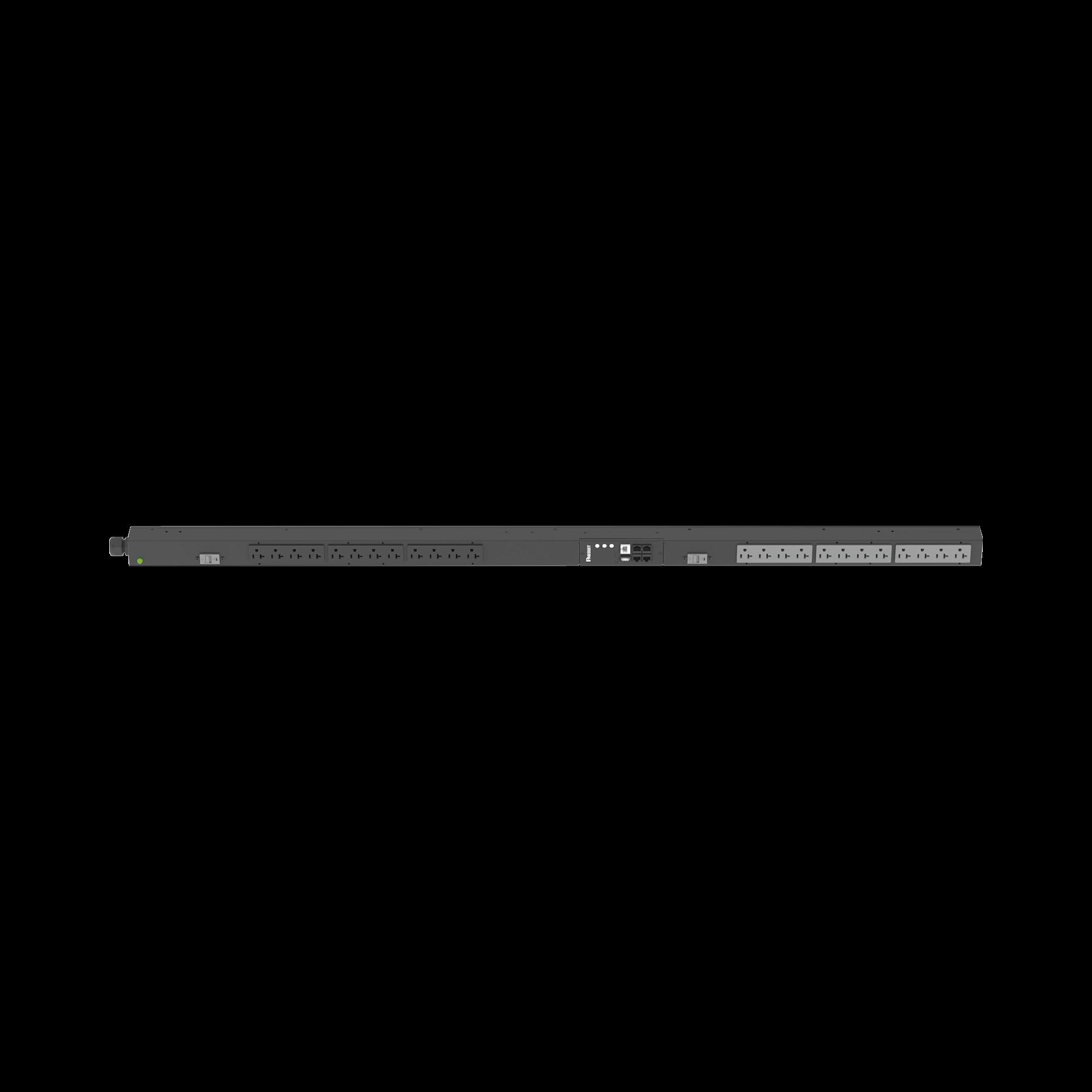 PDU Monitoreable (MI) para Distribución de Energía, Enchufe de Entrada NEMA L5-30P, Con 24 Salidas NEMA 5-20R, de Instalación Vertical, 120 Vca, 30 Amp