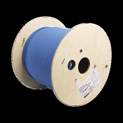 Bobina de Cable Blindado F/UTP de 4 Pares, Cat6A, Soporte de Aplicaciones 10GBase-T, LSZH (Libre de Gases Tóxicos), Color Azul, 305m