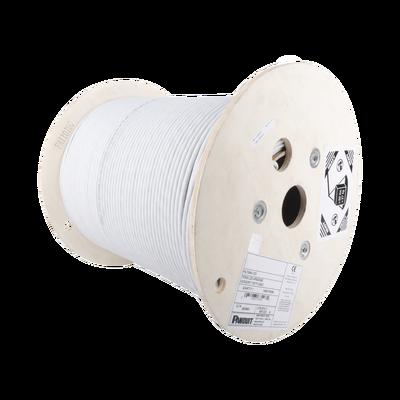 Bobina de Cable Blindado F/UTP de 4 Pares, Cat6A, Soporte de Aplicaciones 10GBase-T, LSZH (Libre de Gases Tóxicos), Color Blanco, 305m