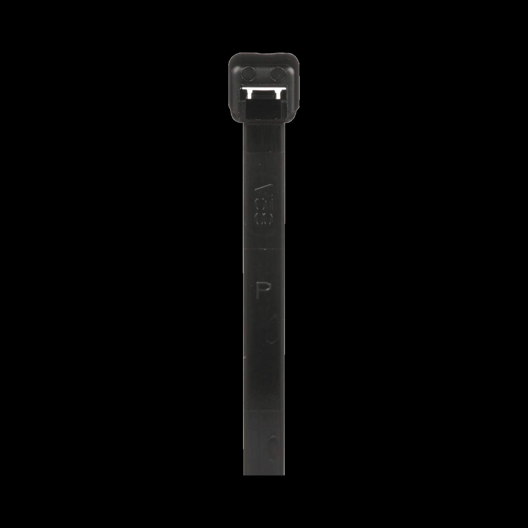 Cincho de Nylon 6.6 de Bloqueo, 188 mm de largo, Color Negro, Exterior Resistente a Rayos UV, Paquete de 1000pz