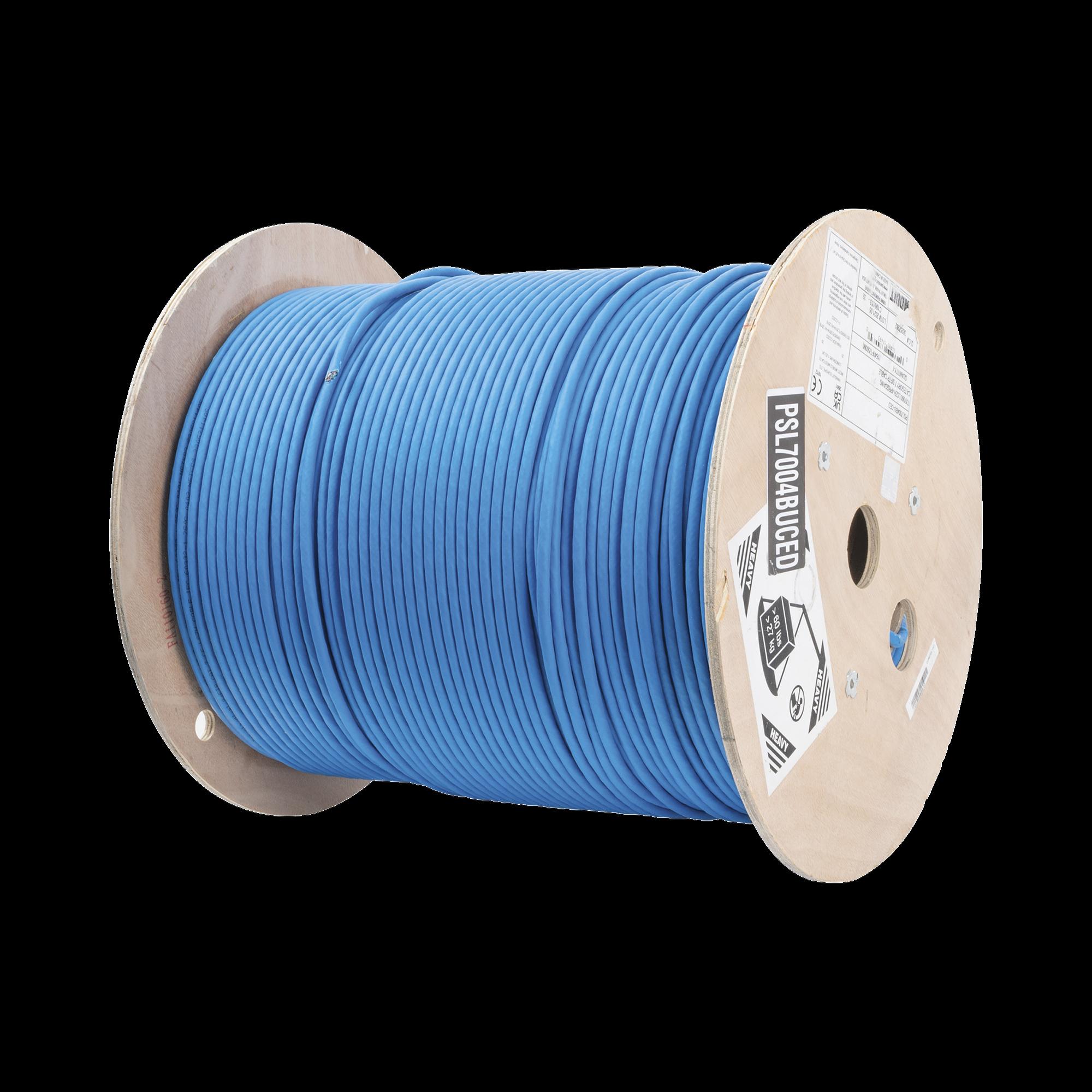 Bobina de Cable Blindado S/FTP de 4 pares, Cat7, Inmune a Ruido e Interferencias, LSZH (Bajo humo, Cero Halógenos), Color Azul, Bobina de 500 m