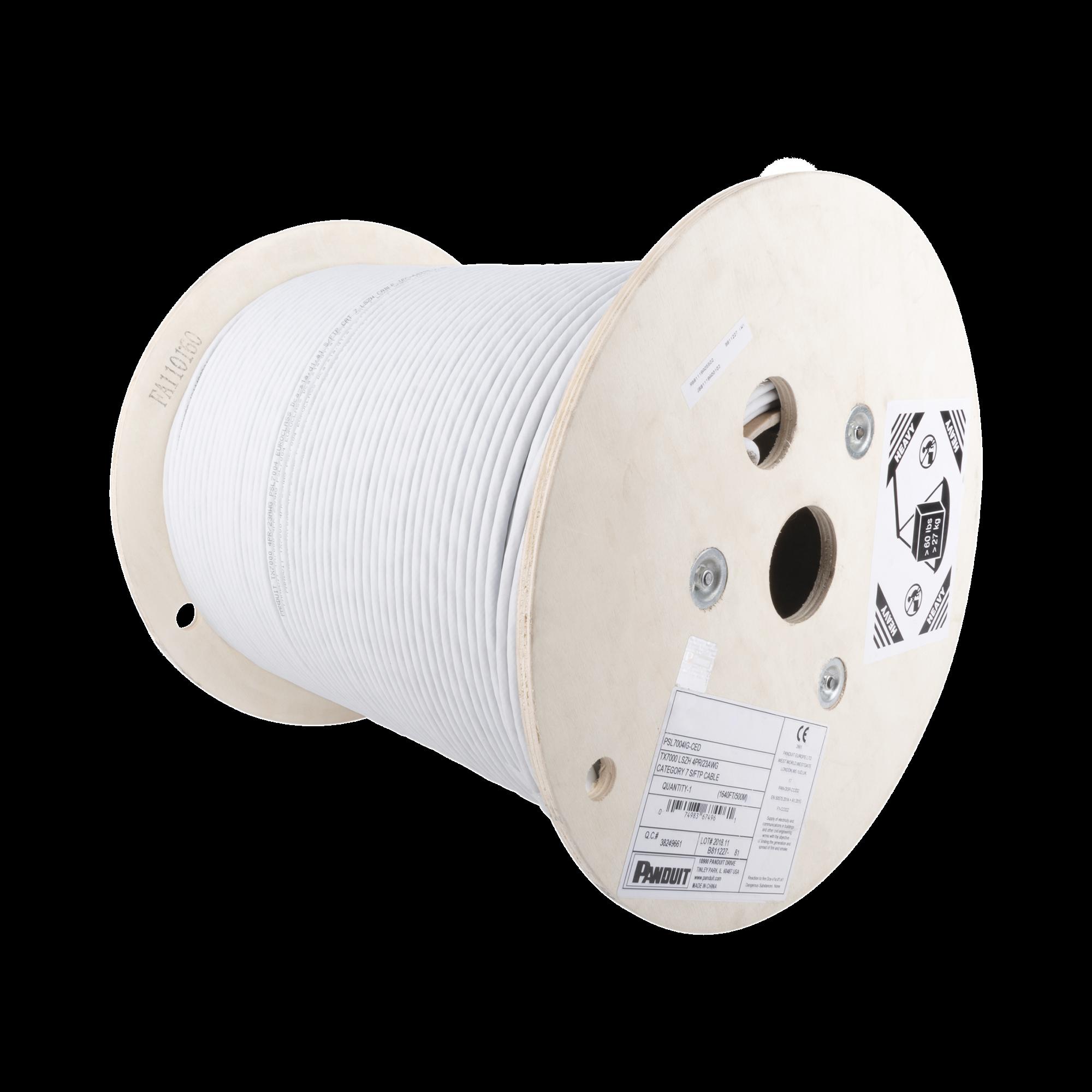 Bobina de Cable Blindado S/FTP de 4 pares, Cat7, Inmune a Ruido e Interferencias, LSZH (Bajo humo, Cero Halógenos), Color Gris, Bobina de 500 m