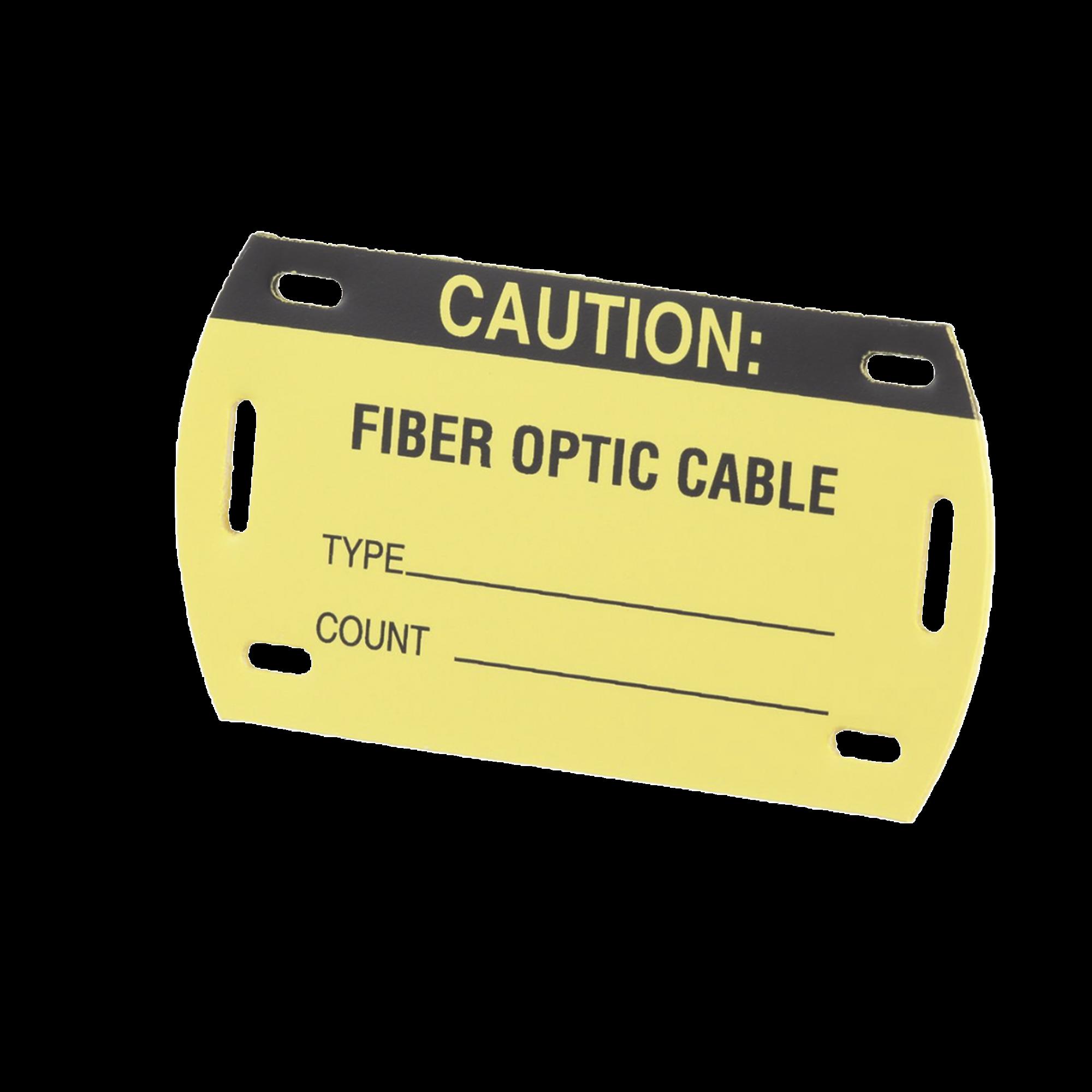 Kit de 5 Etiquetas Autolaminadas para Fibra óptica, Para Uso Interior/Exterior, Dimensiones de 90.42 x 52.32 mm, Color Negro con Amarillo