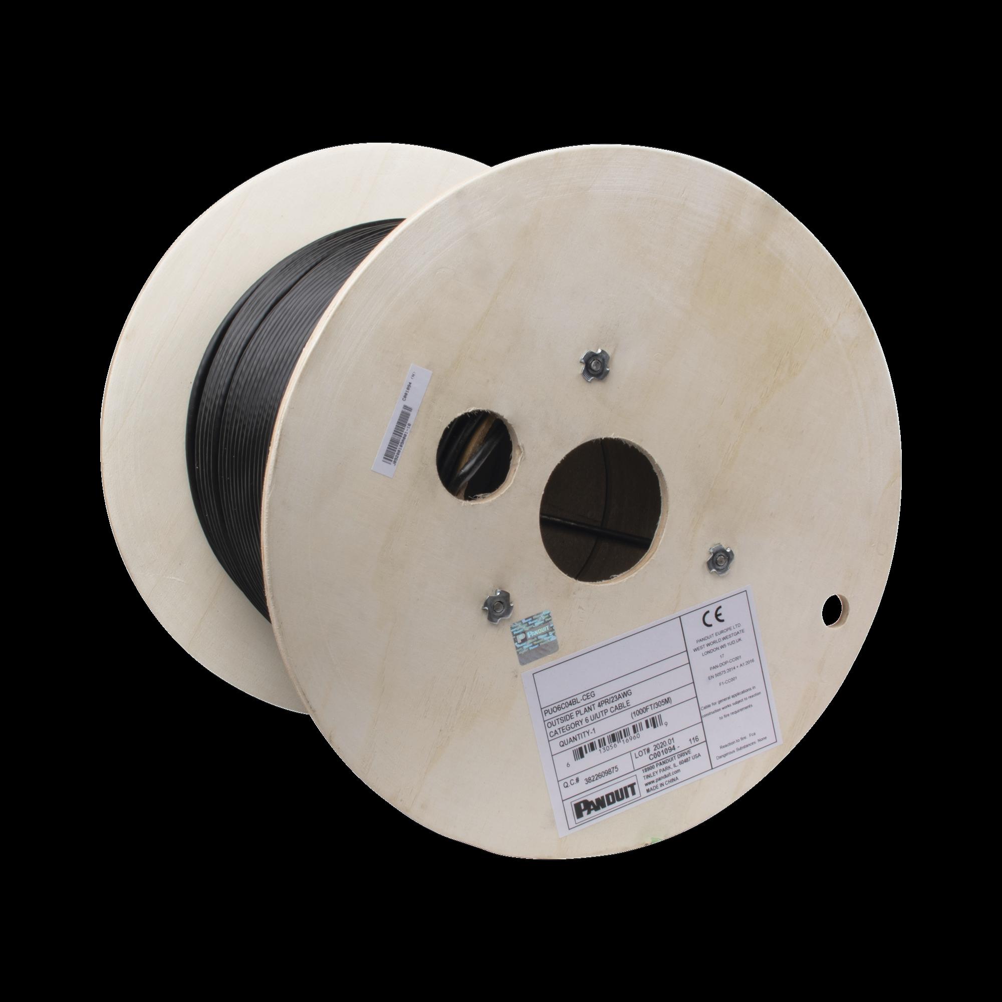 Bobina de Cable UTP de 4 Pares, PanNet, Para Exterior con Gel, Cat6 (23 AWG), Industrial para Climas Extremos, Color Negro, 305 m