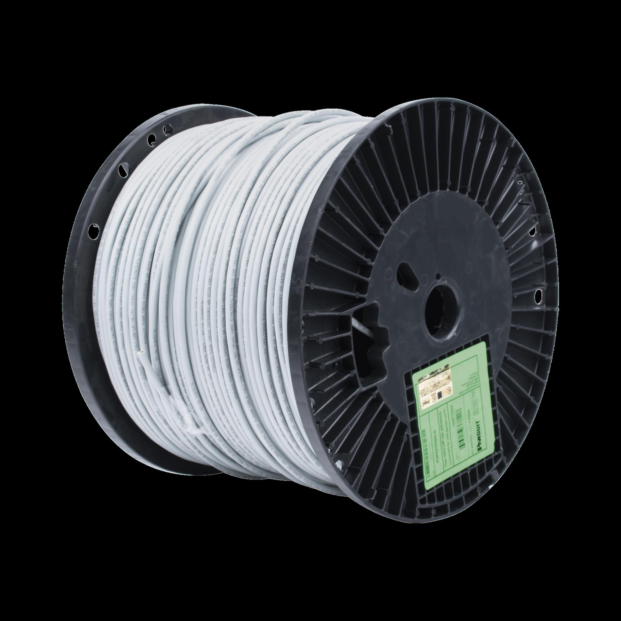 Bobina de Cable UTP de 4 Pares, Vari-MaTriX, Cat6A, 23 AWG, CMP (Plenum), Color Gris, 305m