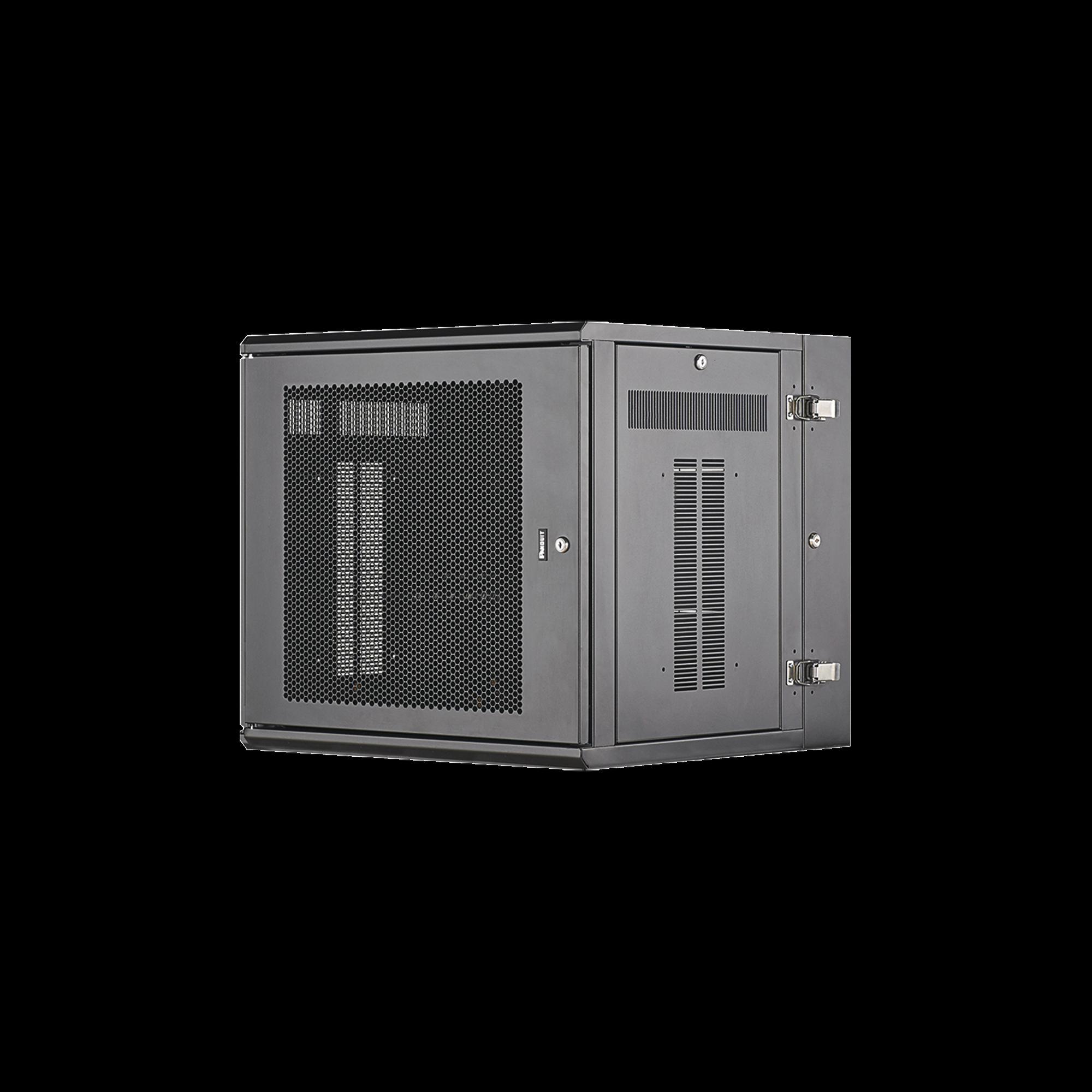Gabinete PanZone de Montaje en Pared, de 19in, Puerta Ventilada, 12 UR, 635mm de Profundidad, Color Negro