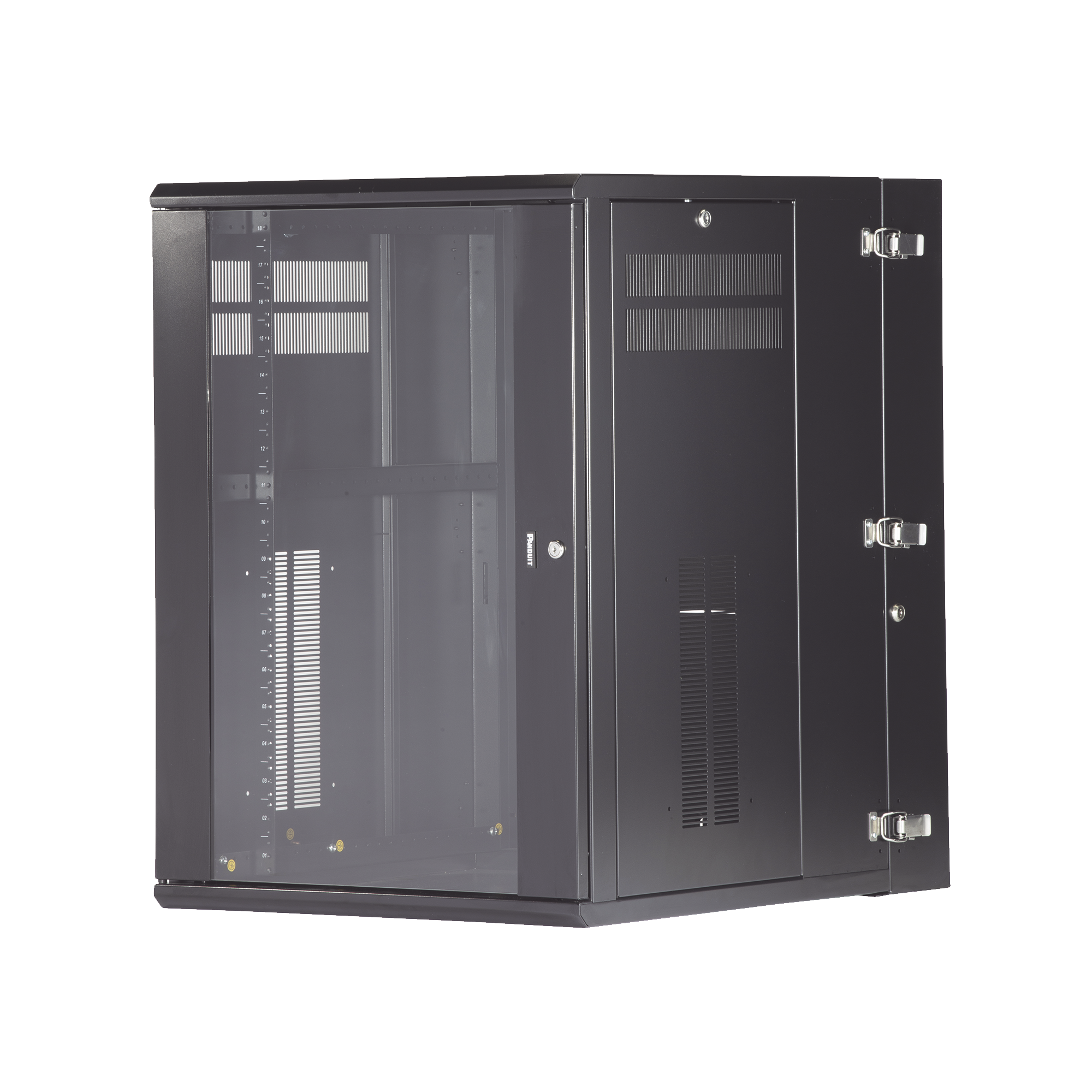 Gabinete PanZone de Montaje en Pared, de 19in, Puerta con Ventana de Seguridad, 18 UR, 762mm de Profundidad, Color Negro