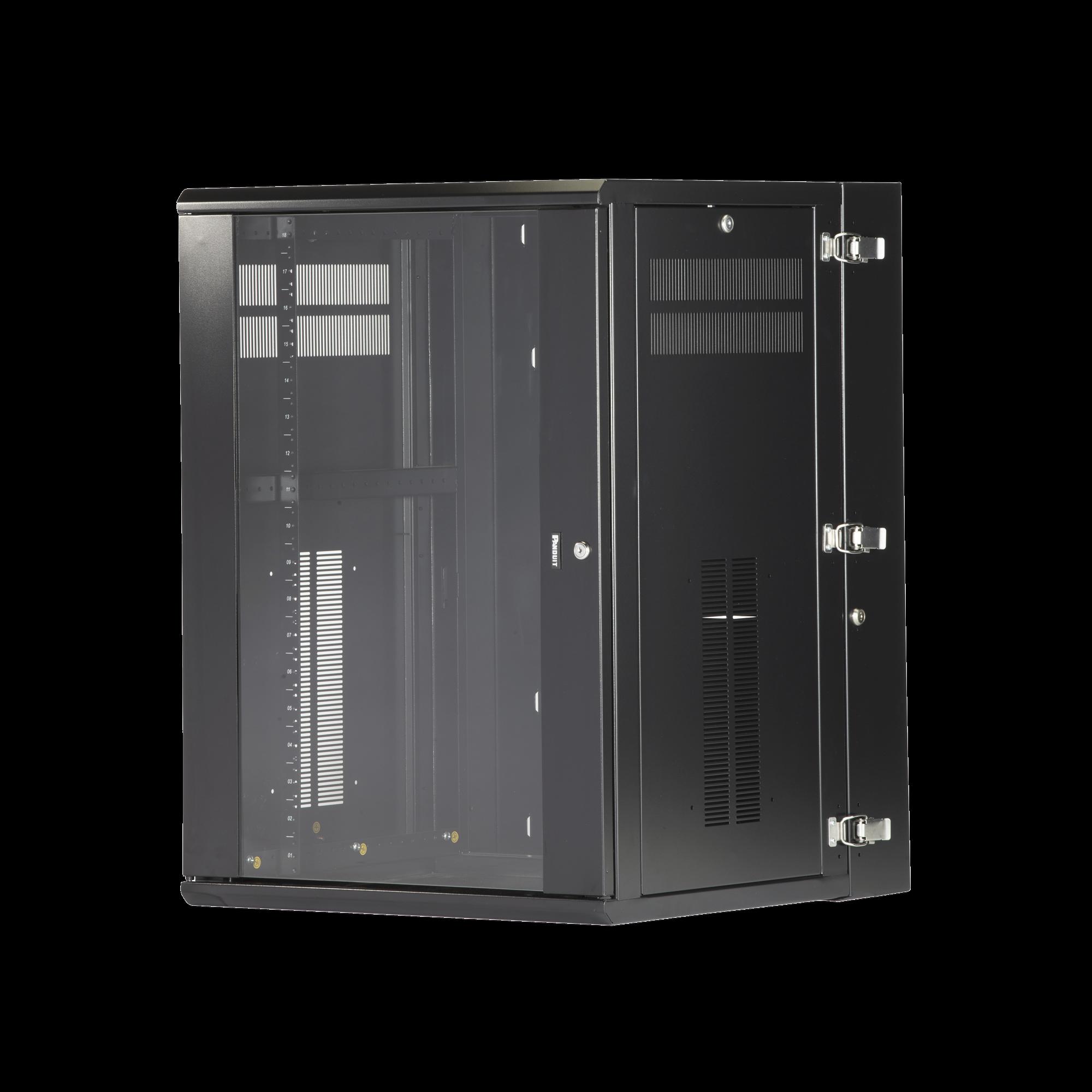 Gabinete PanZone de Montaje en Pared, de 19in, Puerta con Ventana de Seguridad, 18 UR, 635mm de Profundidad, Color Negro