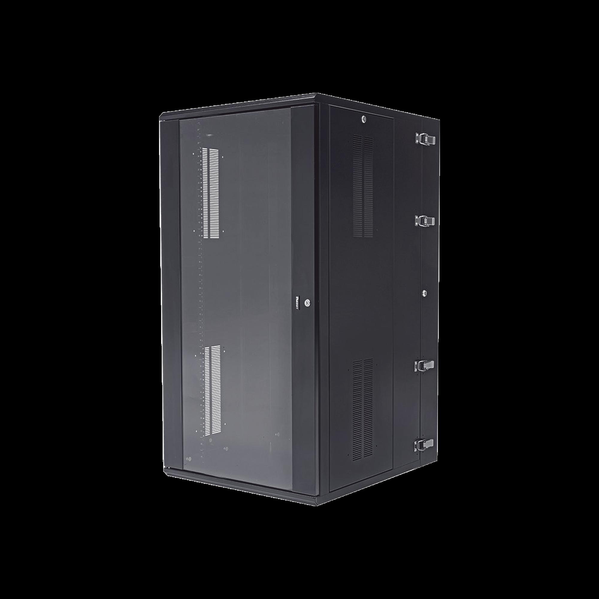 Gabinete PanZone de Montaje en Pared, de 19in, Puerta con Ventana de Seguridad, 26 UR, 762mm de Profundidad, Color Negro