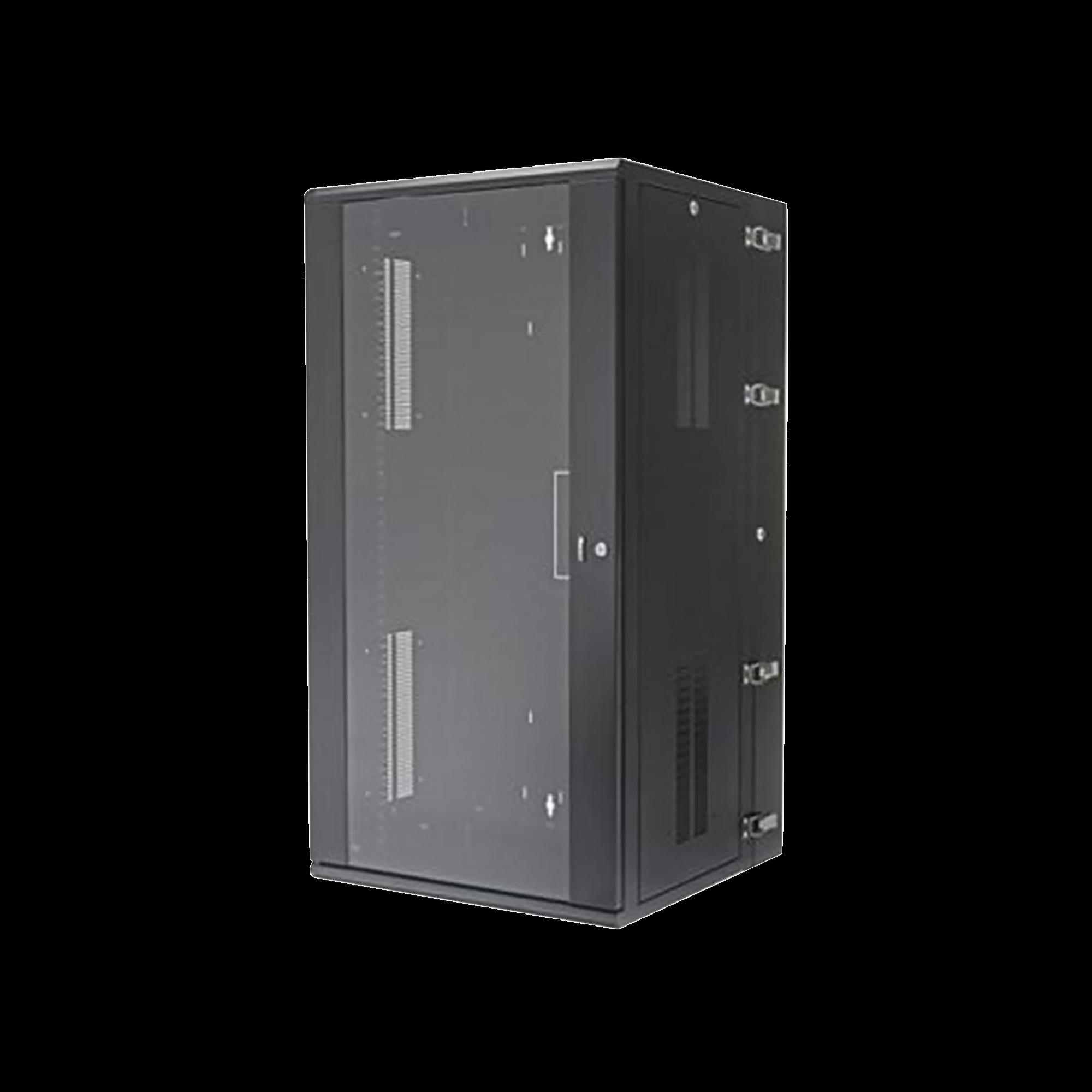 Gabinete PanZone de Montaje en Pared, de 19in, Puerta con Ventana de Seguridad, 26 UR, 635mm de Profundidad, Color Negro