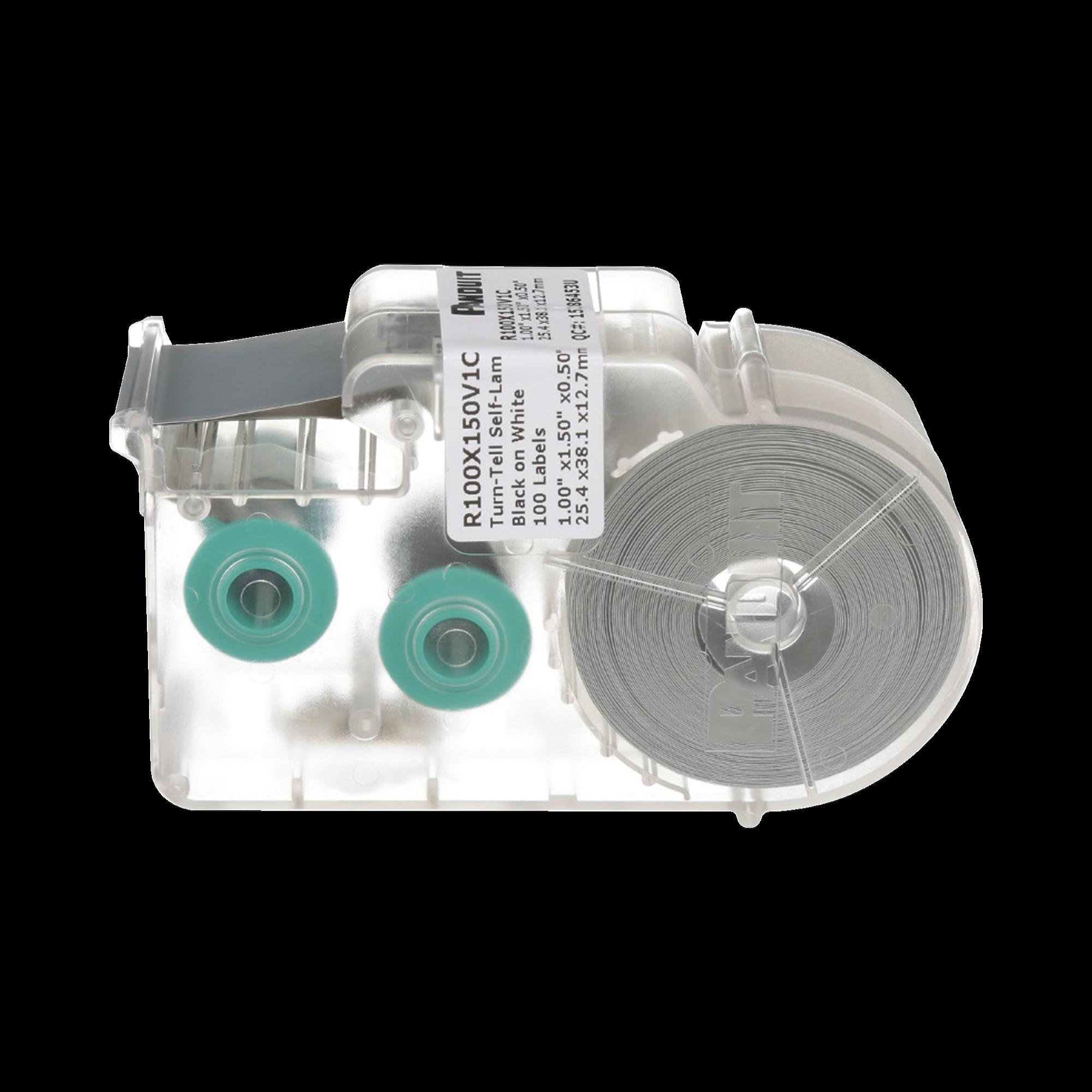 Casete de 100 Etiquetas Autolaminadas Turn-Tell, Con Rotación para Mejor Visibilidad, para Cables de Redes de Cobre o Fibra óptica, de 5.5 a 7.1 mm de Diámetro