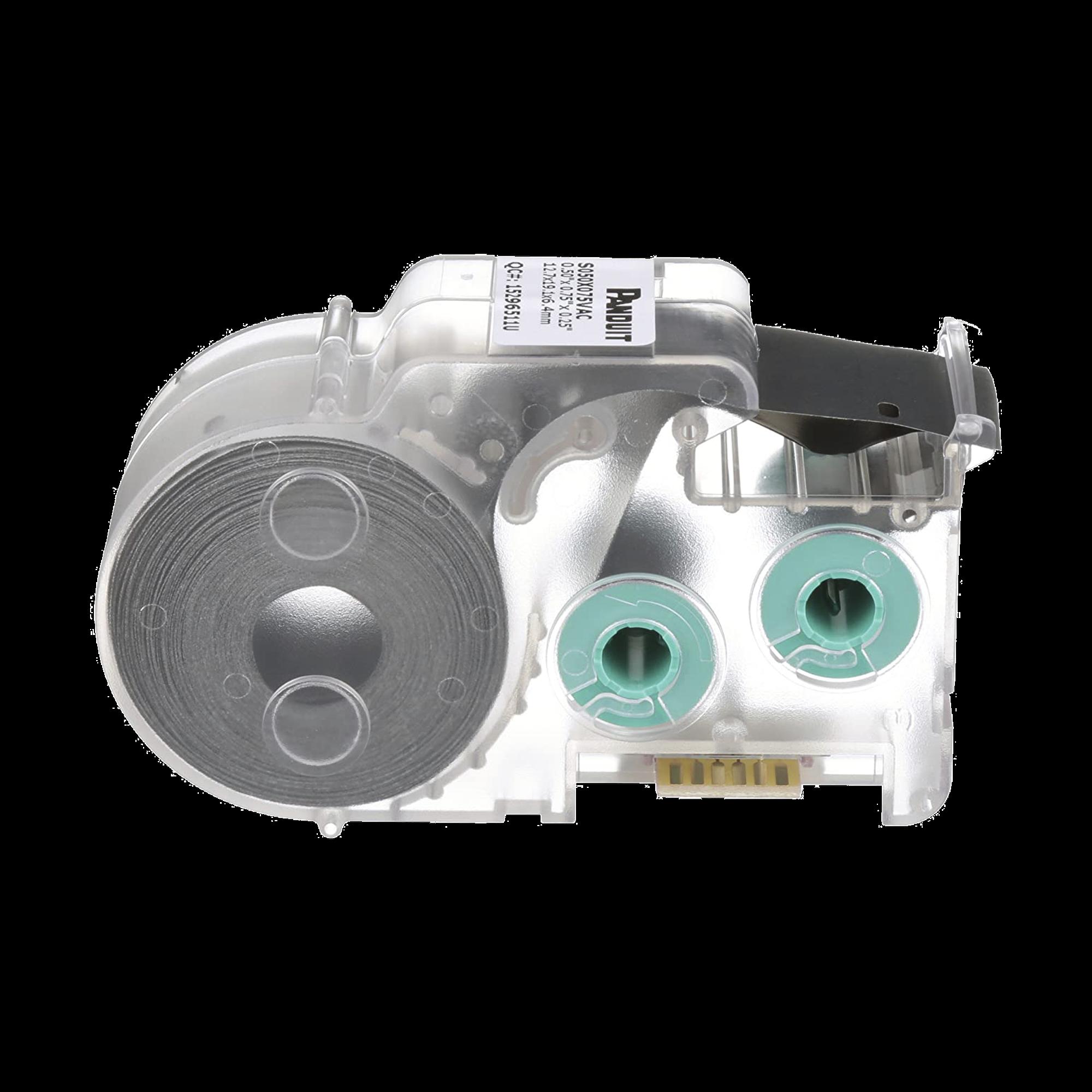 Casete de 350 Etiquetas Autolaminadas de 25.4 x 19.05 mm, para Cables de 2 a 4.1 mm de Diámetro, área de Impresión Color Blanco