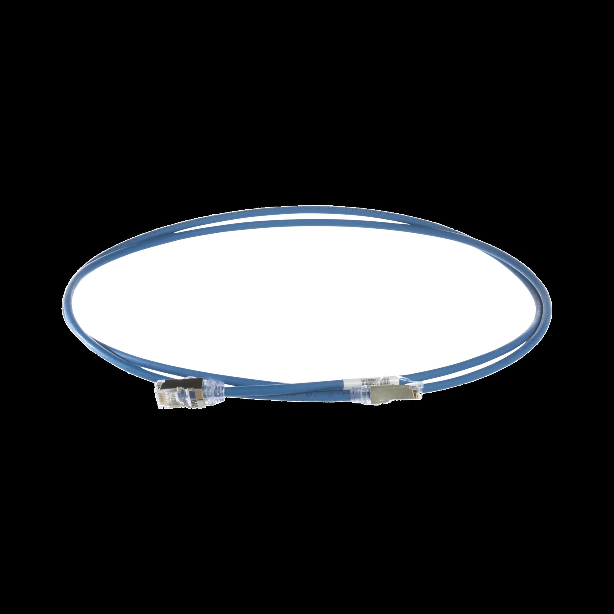 Patch Cord Cat6A, Diametro Reducido 28 AWG, Blindado S/FTP, CM/LS0H, 1.5m, Color Azul