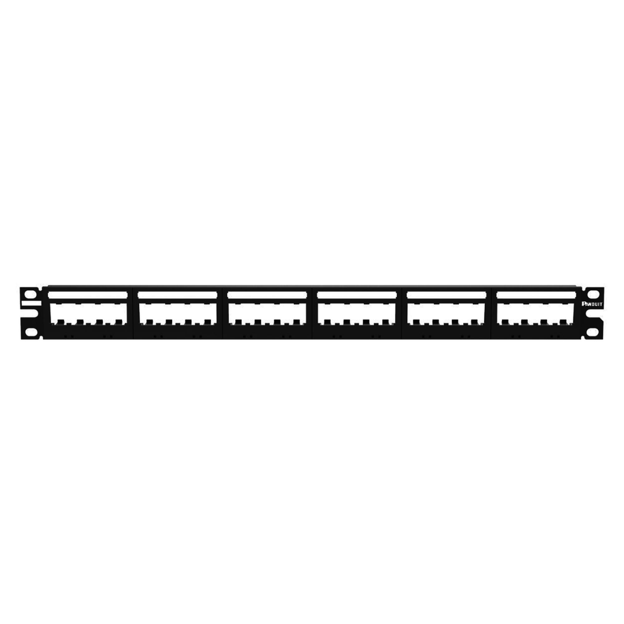 Panel de Parcheo Modular Mini-Com (Sin Conectores), Ultimate ID?, Plano, Sin Blindaje, Con Etiqueta y Cubierta, de 24 puertos, 1UR