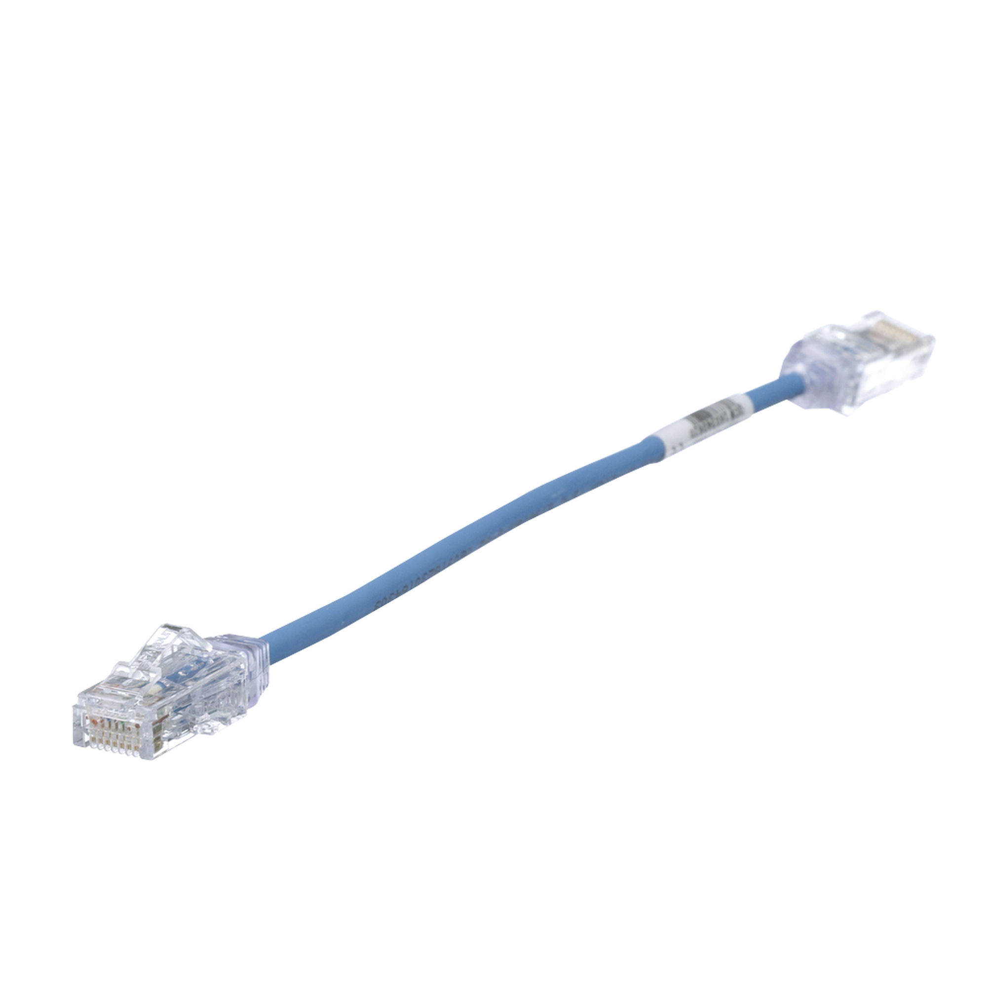 Cable de Parcheo TX6, UTP Cat6, Diámetro Reducido (28AWG), Color Azul, 20cm