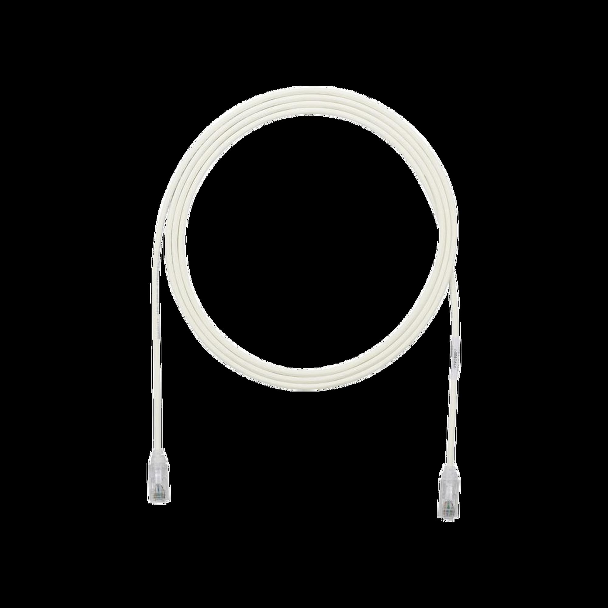 Cable de Parcheo TX6, UTP Cat6, Diámetro Reducido (28AWG), Color Blanco Mate, 1ft