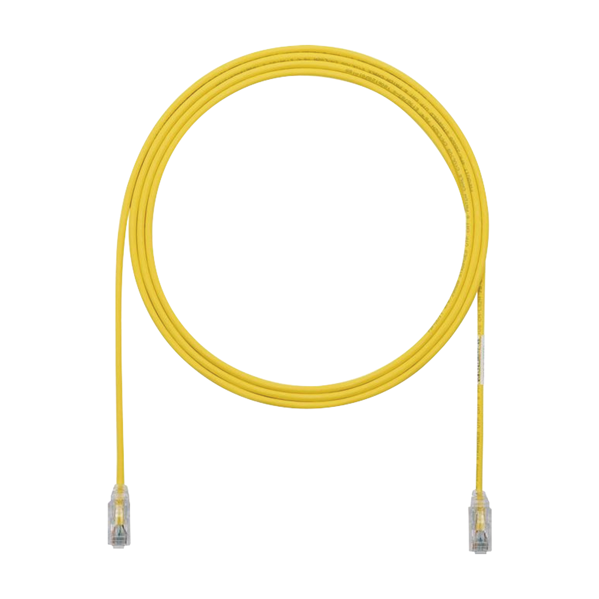 Cable de Parcheo TX6, UTP Cat6, Diámetro Reducido (28AWG), Color Amarillo, 10ft