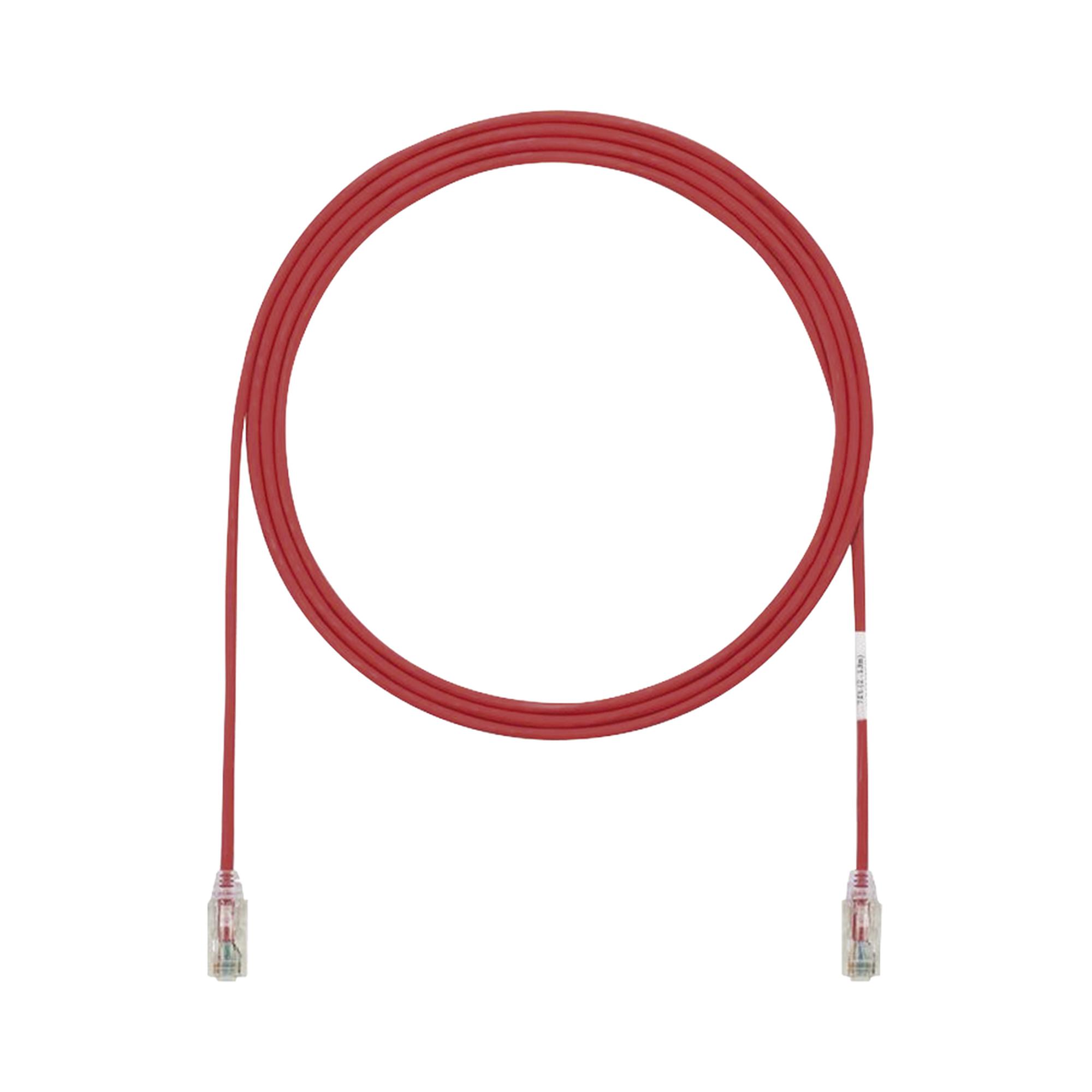 Cable de Parcheo TX6, UTP Cat6, Diámetro Reducido (28AWG), Color Rojo, 1ft
