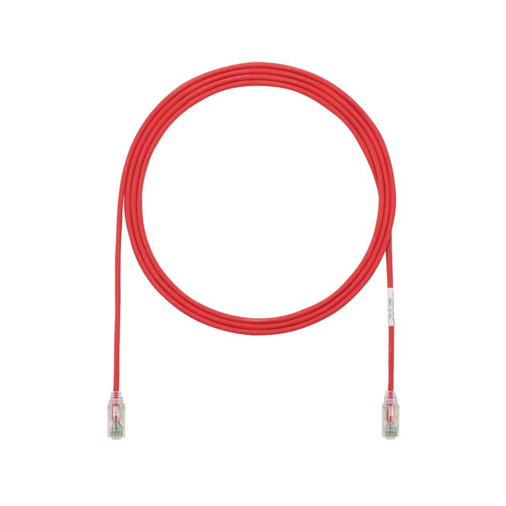 Cable de Parcheo TX6, UTP Cat6, Diámetro Reducido (28AWG), Color Rojo, 33ft