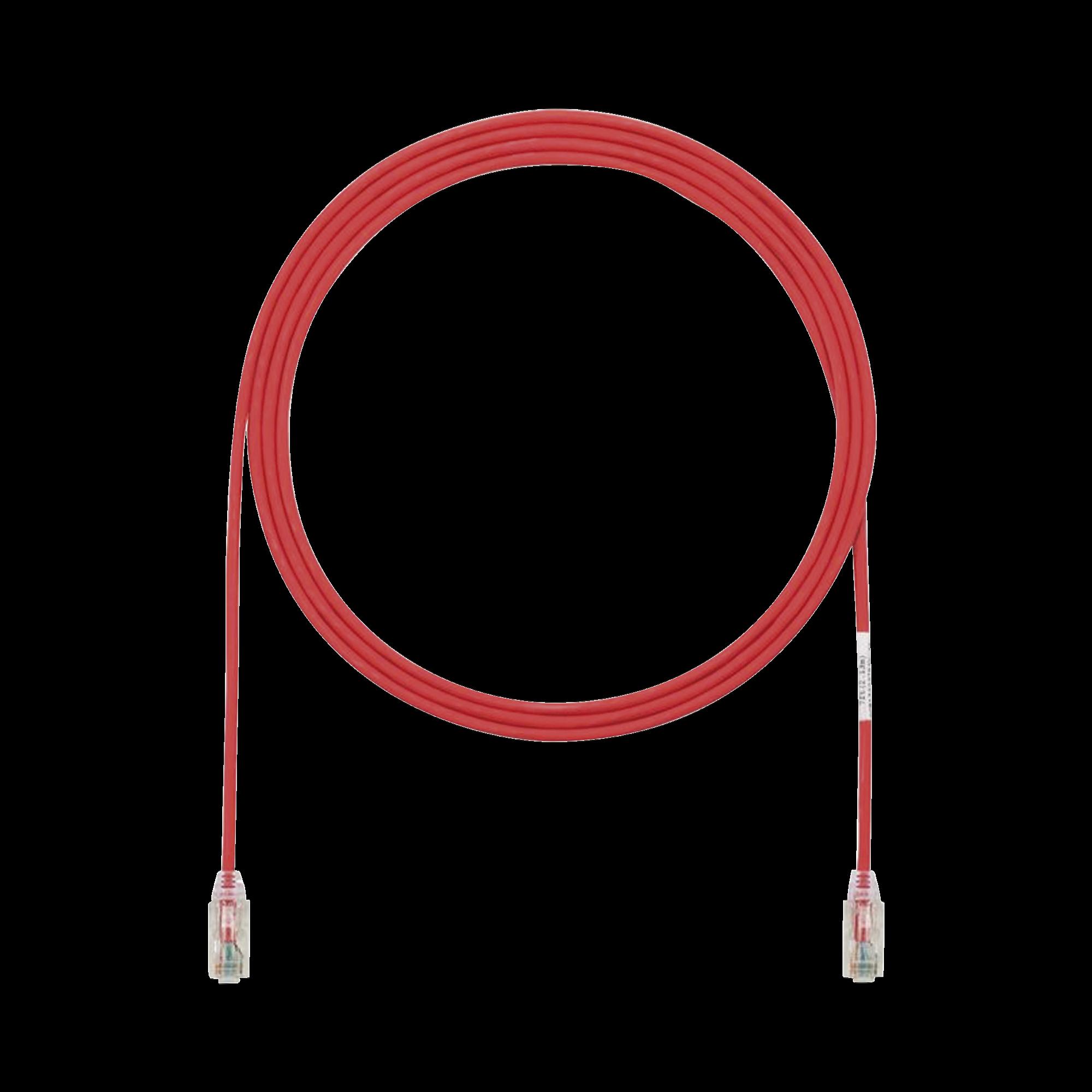 Cable de Parcheo TX6, UTP Cat6, Diámetro Reducido (28AWG), Color Rojo, 7ft