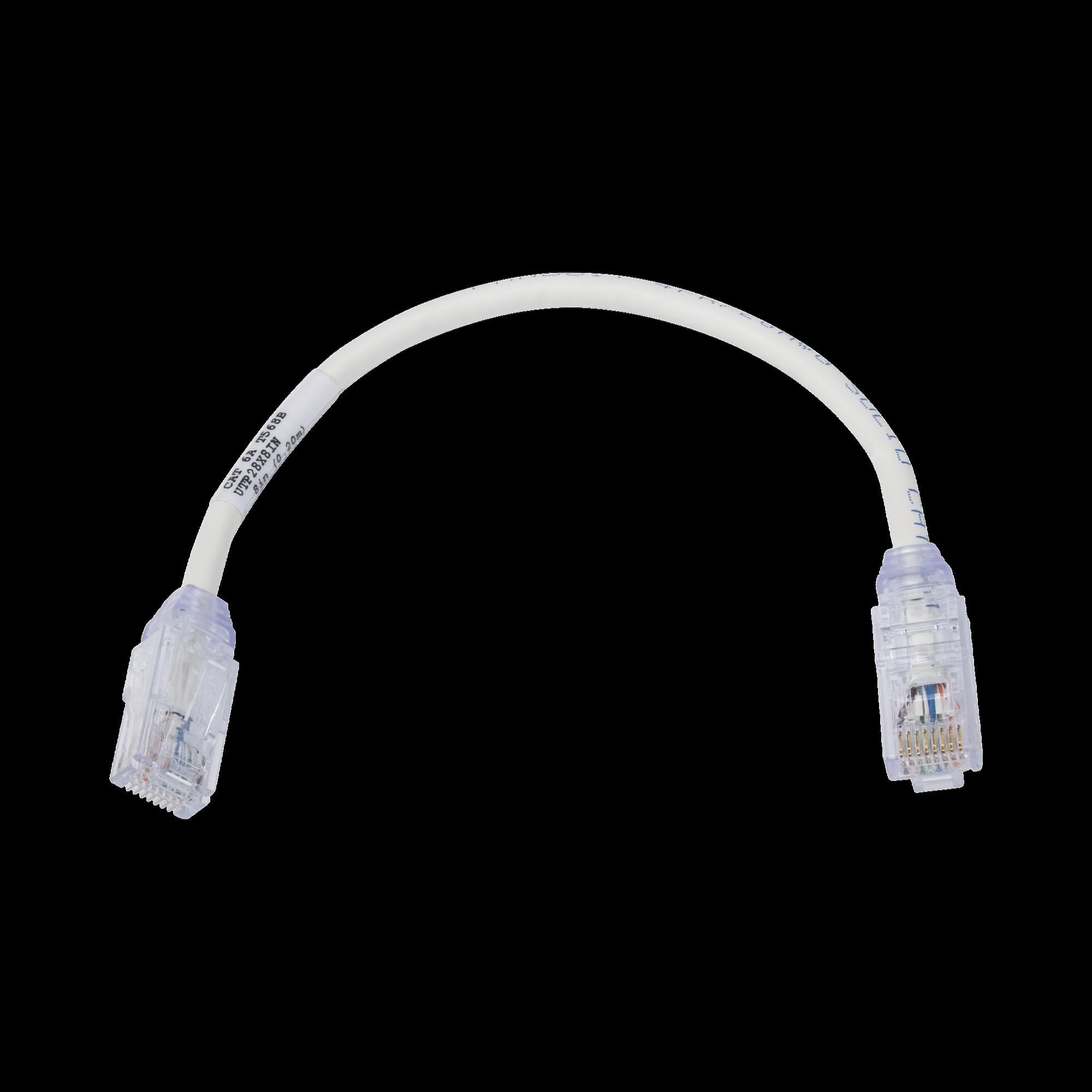 Cable de Parcheo UTP, Cat6A, Diámetro Reducido (28 AWG), CM/LSZH, Color Blanco Mate, 8in (20.3cm)